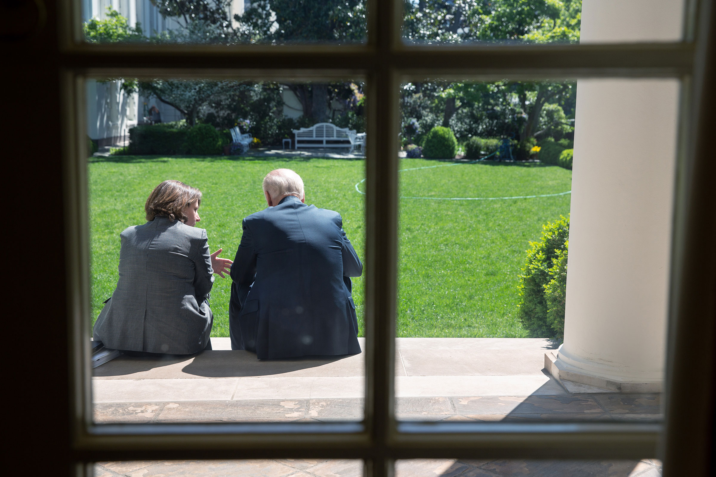 Vice President Joe Biden and Lisa Monaco, Assistant to the President for Homeland Security and Counterterrorism, talk on the steps from the Colonnade to the Rose Garden at the White House following the Presidential Daily Briefing, on May 1, 2013.