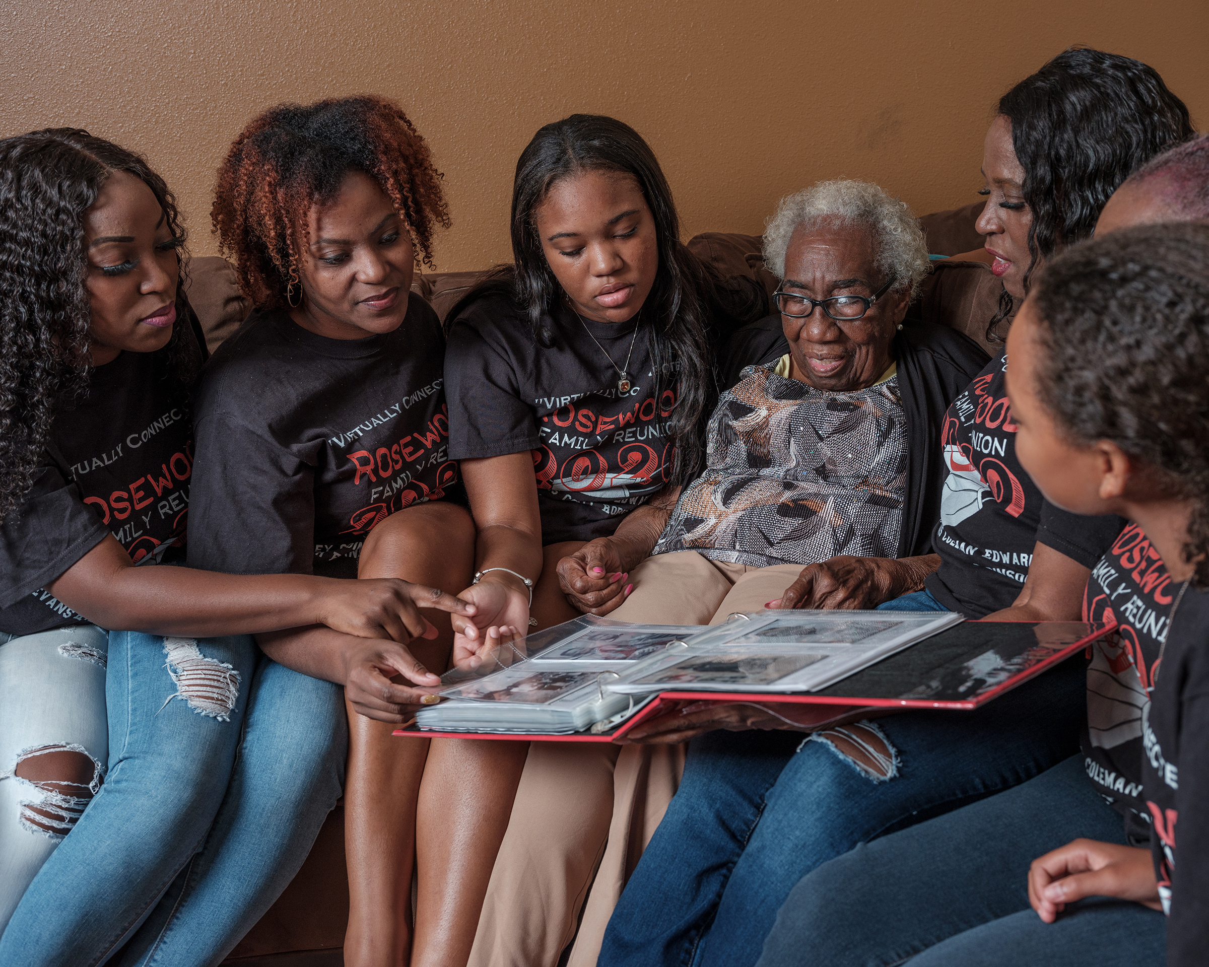 One of the oldest living descendants of the Rosewood massacre, Altamese Wrispus, with three generations of family members.