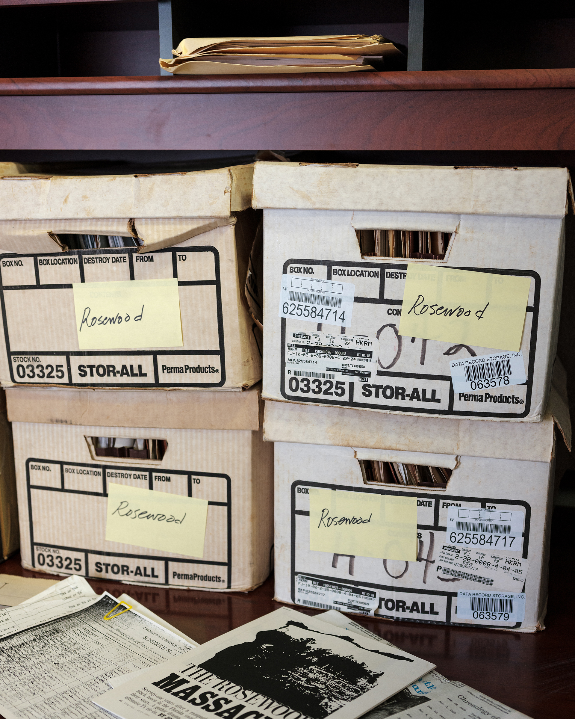 Boxes of Rosewood files at Barnett's office.