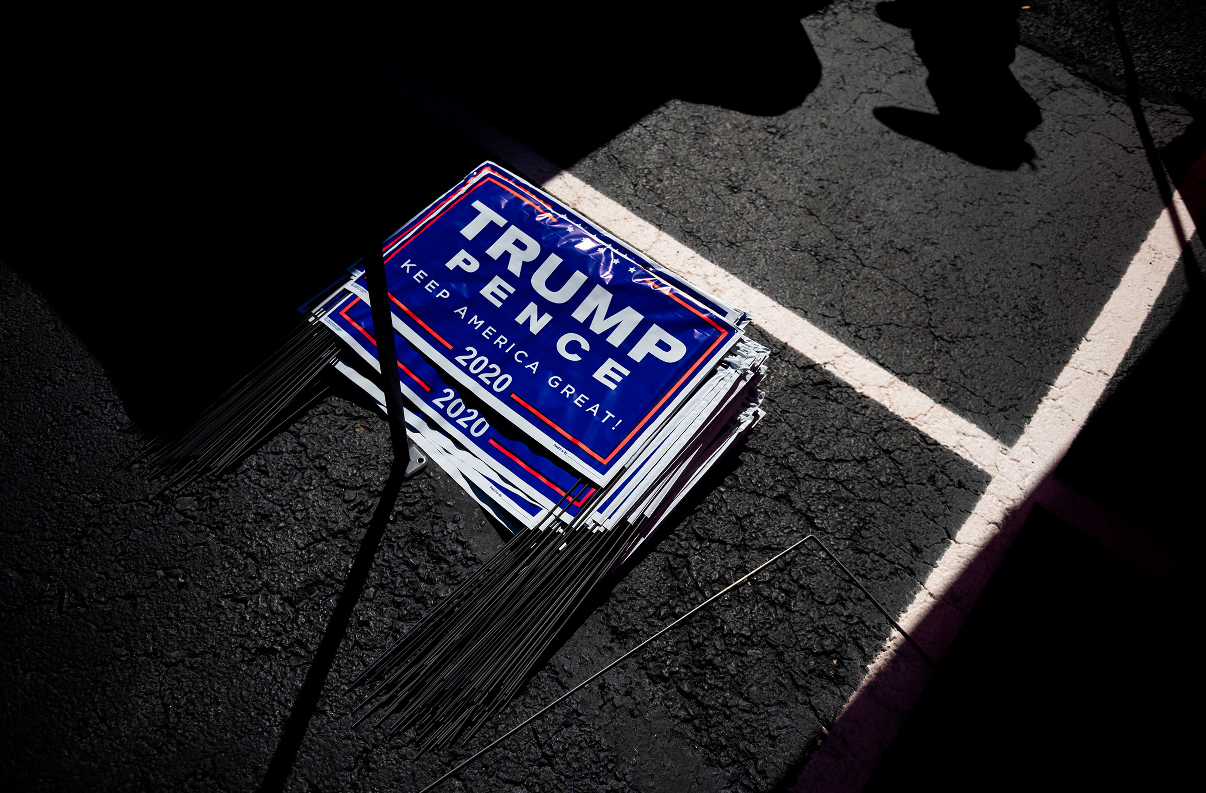 Yard signs for President Donald Trump are seen during a Republican voter registration in Brownsville, Pennsylvania on Sept. 5, 2020.