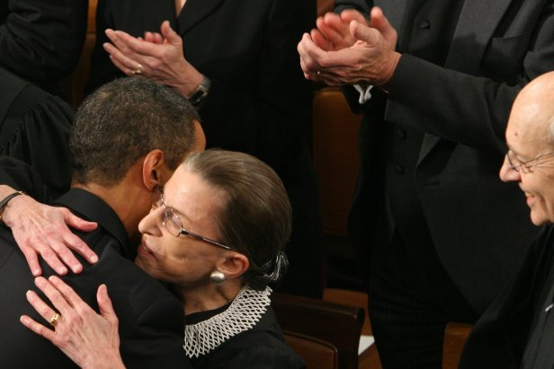 President Obama embraces Supreme Court Justice Ruth Bader Ginsburg prior to addressing a Joint Session of Congress at the Capitol in Washington, D.C., on Feb. 24, 2009. A day earlier, Ginsburg, who underwent surgery for cancer of the pancreas in early February, was back at her seat for the new session of the Supreme Court.
