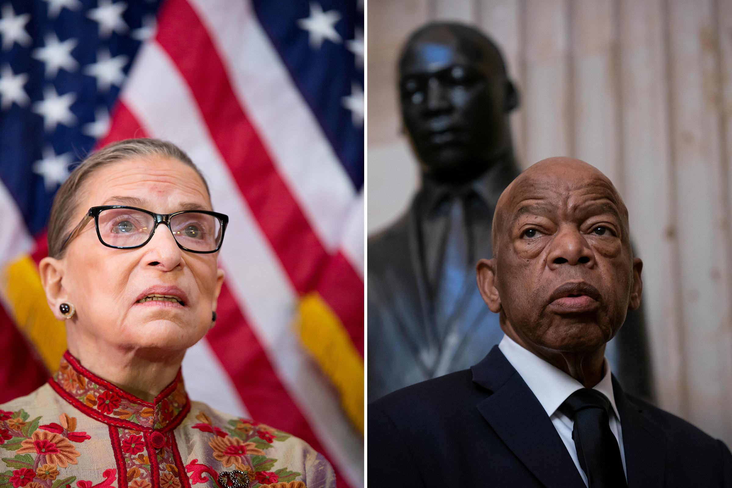 Left: U.S. Supreme Court Justice Ruth Bader Ginsburg participates in a Women's History Month reception in the U.S. capitol building in Washington, D.C. in March 2015. Right: Rep. John Lewis stands beneath a bust of Rev. Martin Luther King Jr. as members of the Congressional Black Caucus gather for the memorial ceremony for the late Maryland Rep. Elijah Cummings on Oct. 24, 2019.