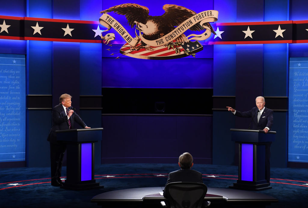 Joe Biden, 2020 Democratic presidential nominee, right, and U.S. President Donald Trump, left, speak during the first U.S. presidential debate hosted by Case Western Reserve University and the Cleveland Clinic in Cleveland, Ohio, U.S., on Tuesday, Sept. 29, 2020.