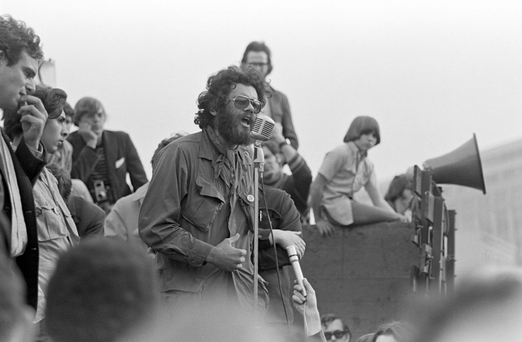 Third World Liberation Front spokesperson Roger Alvarado speaks at a rally in support of a San Francisco State College (later San Francisco State University) students strike near San Francisco City Hall, late 1968.
