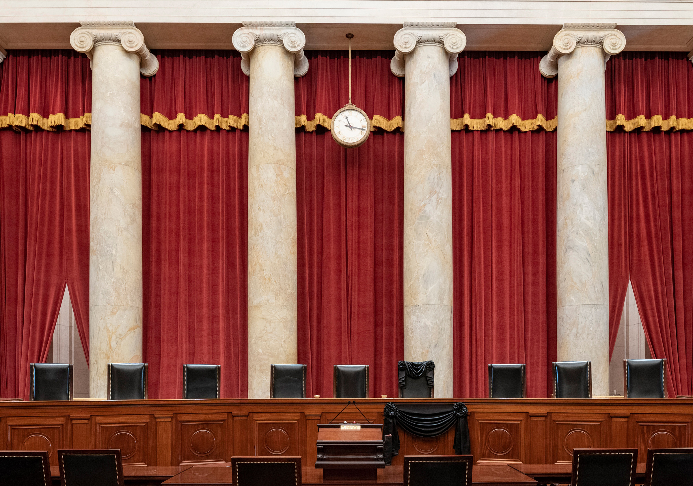 This Sept. 19 photo shows the Bench draped for the death of Supreme Court Associate Justice Ruth Bader Ginsburg at the Supreme Court in Washington