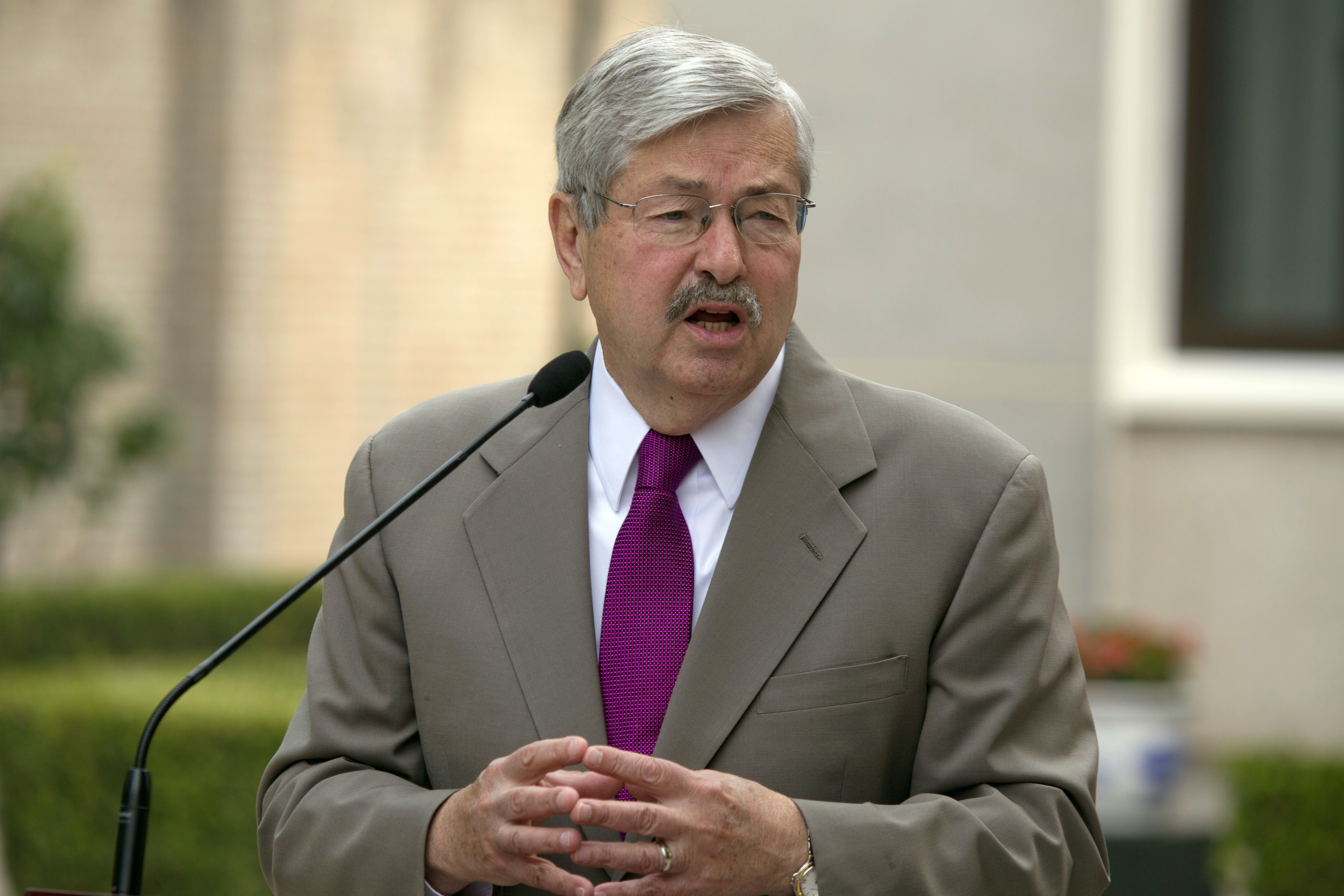 U.S. Ambassador to China Terry Branstad speaks to journalists at the Ambassador's residence in Beijing on June 28, 2017.