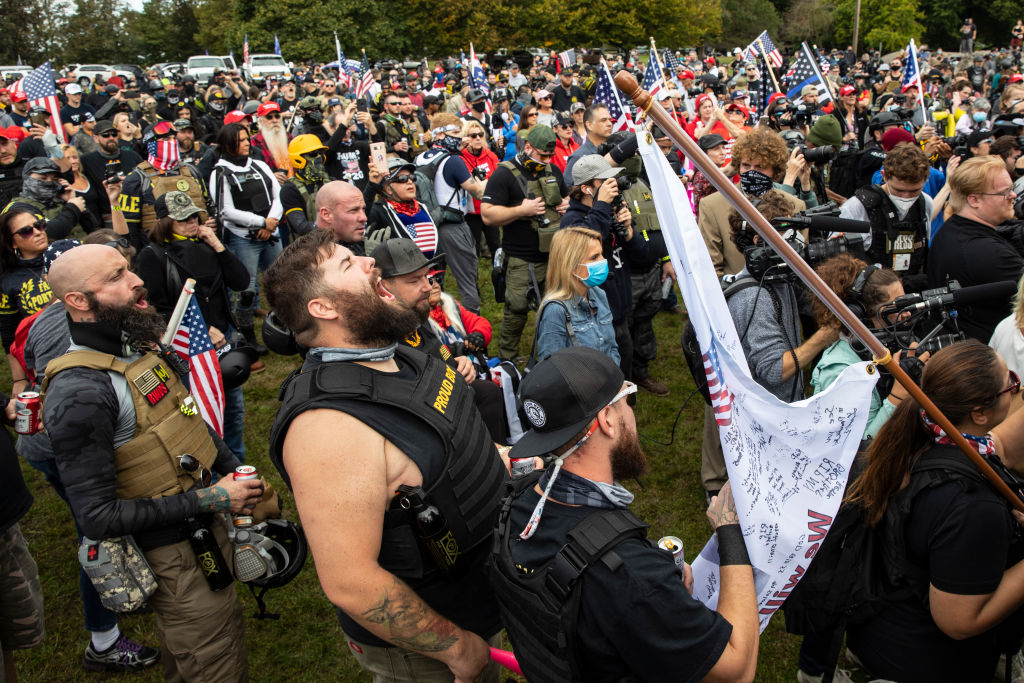 Supporters of President Trump, along with members of the far-right Proud Boys, listen to speeches during an event on September 26, 2020 in Portland, Oregon.