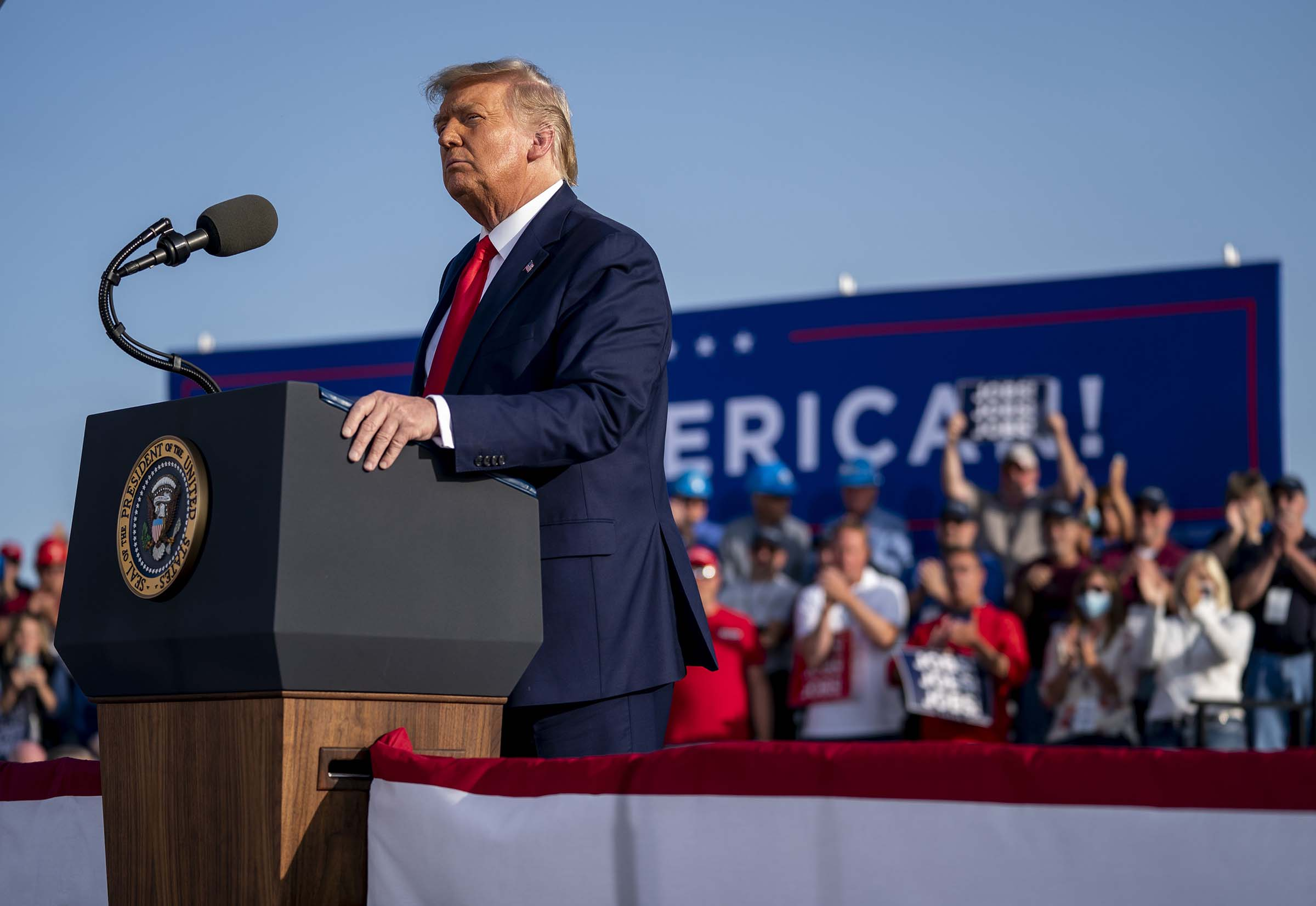 President Donald Trump speaks during a campaign rally at the Dayton International Airport in Ohio, on Sept. 21, 2020.