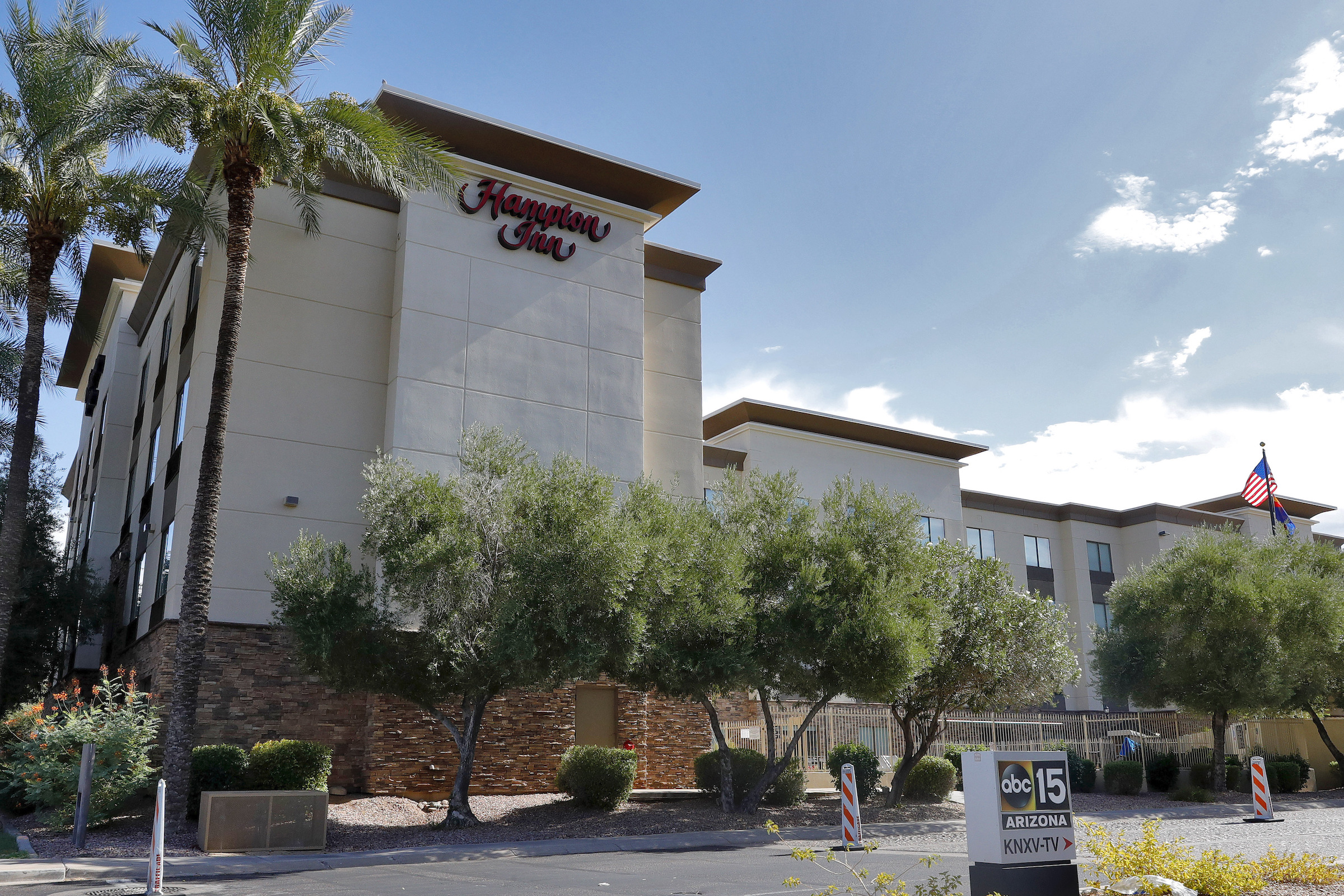 In this July 21, 2020, file photo, a Hampton Inn is shown in Phoenix.
