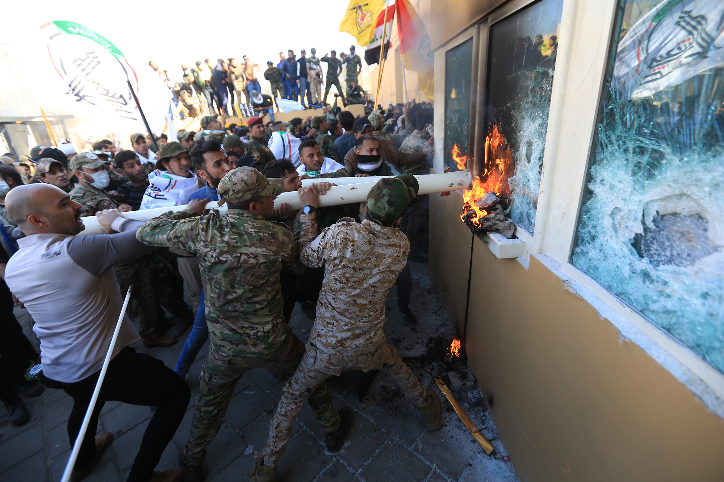 Iraqi protesters storm the U.S. embassy in Baghdad on Dec. 31, 2019.