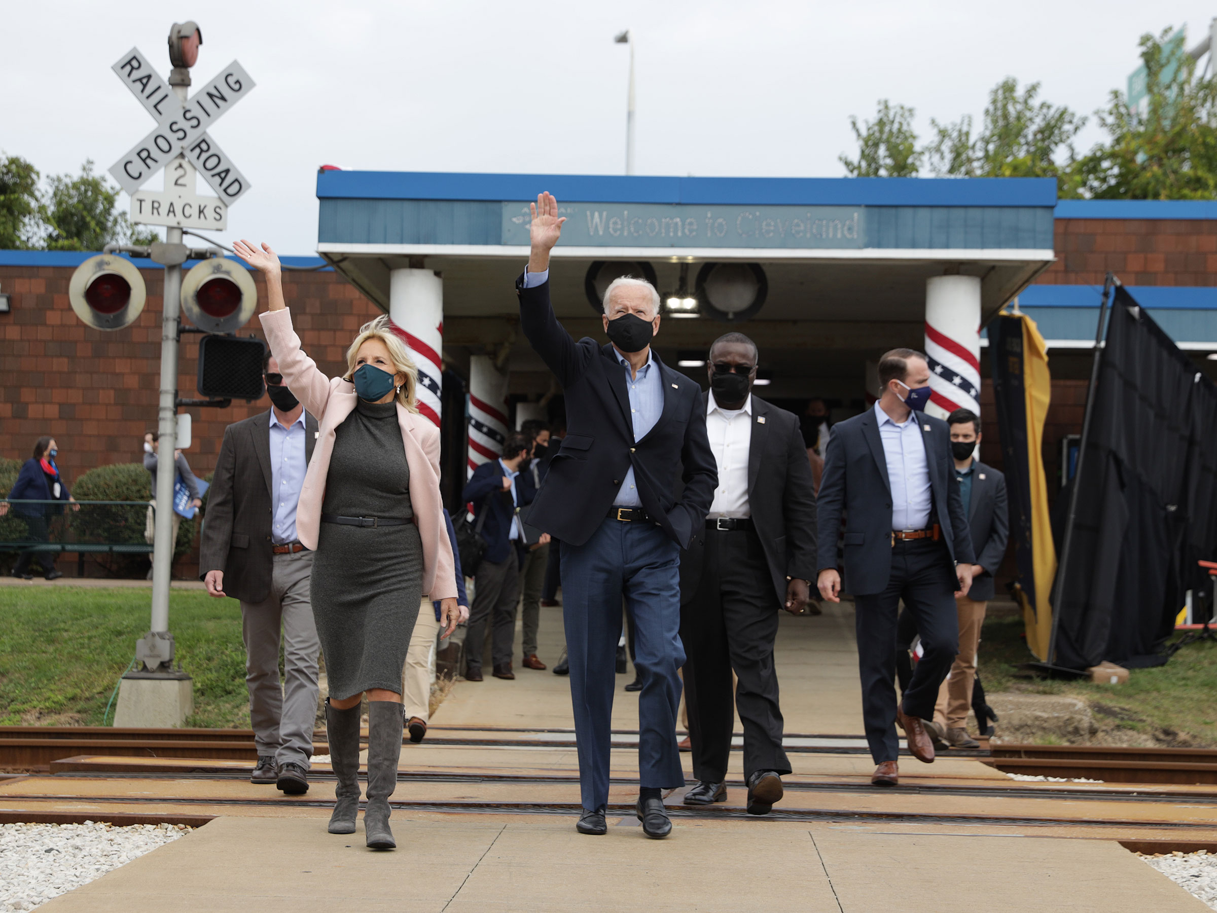 Democratic presidential nominee Joe Biden and his wife Dr. Jill Biden prepare to embark on a train campaign tour at the Cleveland Amtrak Station in Cleveland, Ohio on Sept. 30, 2020.