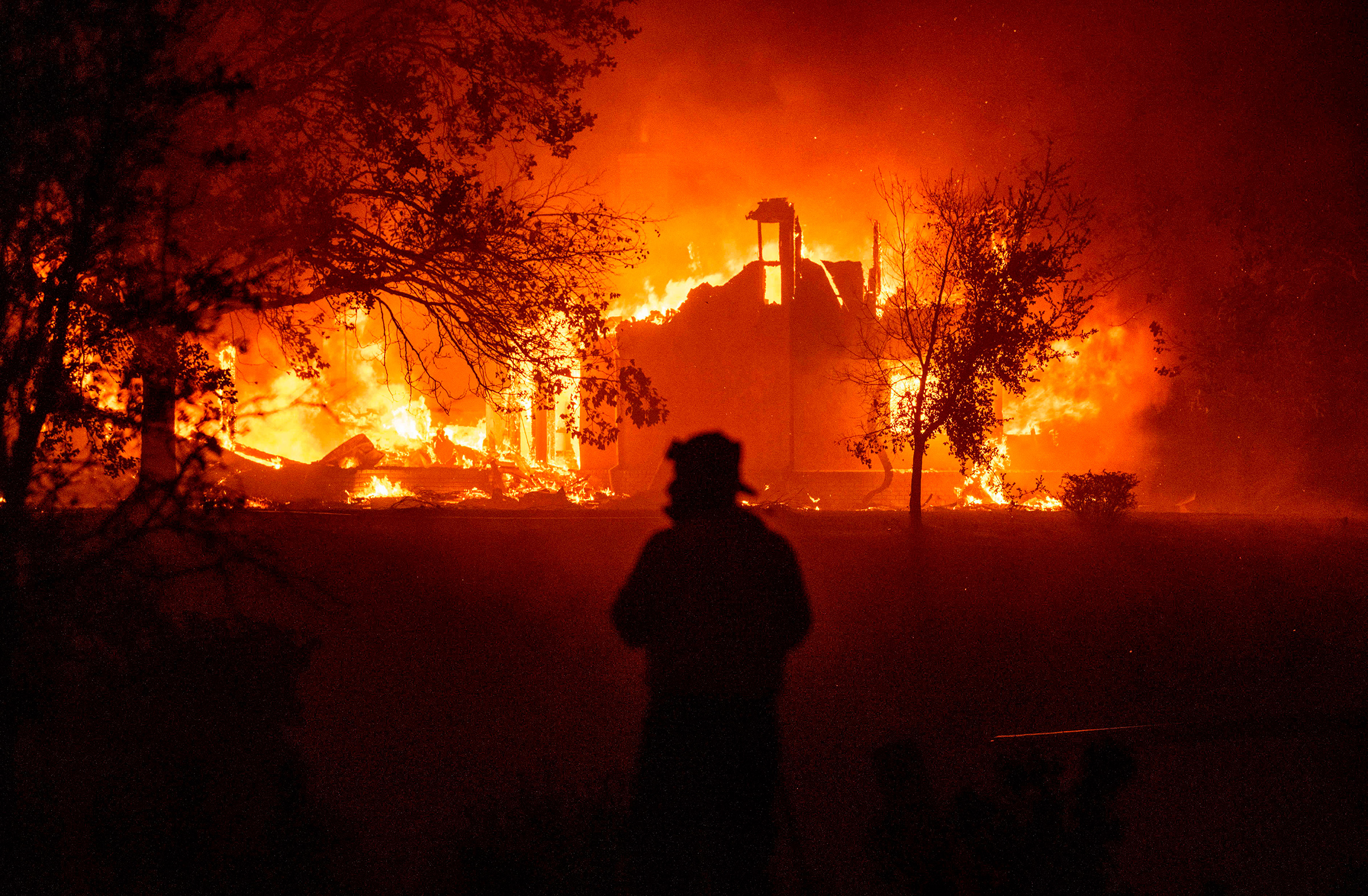 A home burns in Vacaville, CA during the LNU Lightning Complex fire on Aug. 19