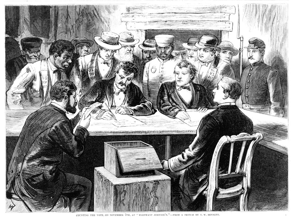 Men seated around a table with a ballot box counting votes after the disputed 1876 presidential election at 'Elephant Johnnie's', a New Orleans bar and polling place, Nov. 7, 1876. From Frank Leslie's Illustrated Newspaper.