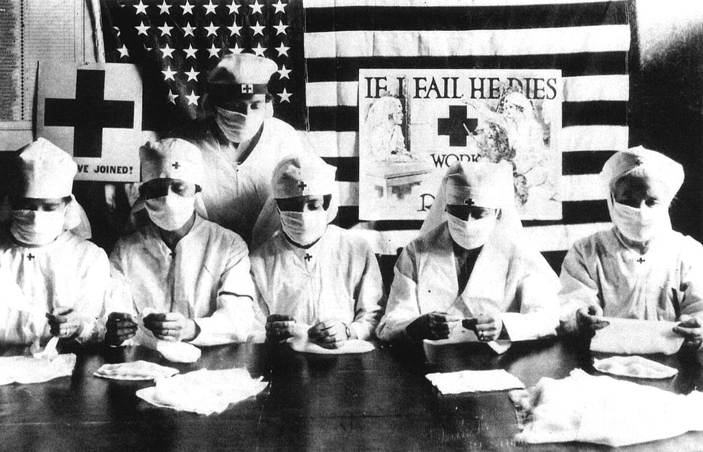 Red Cross volunteers  in the United States, circa 1918.