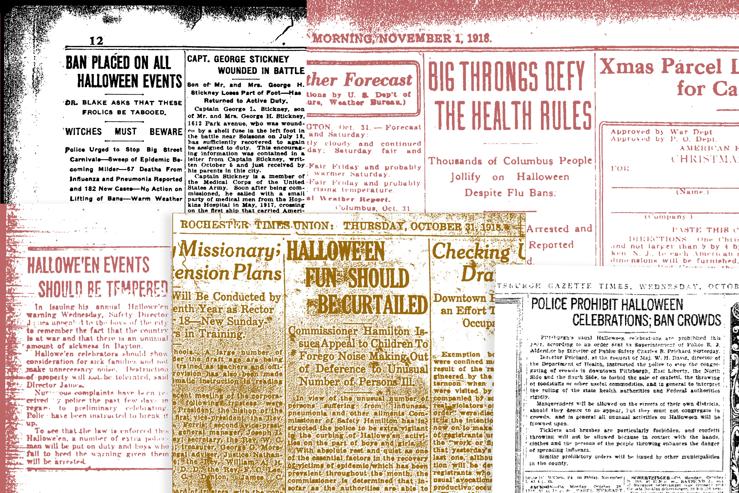 Newspaper headlines about Halloween precautions, 1918