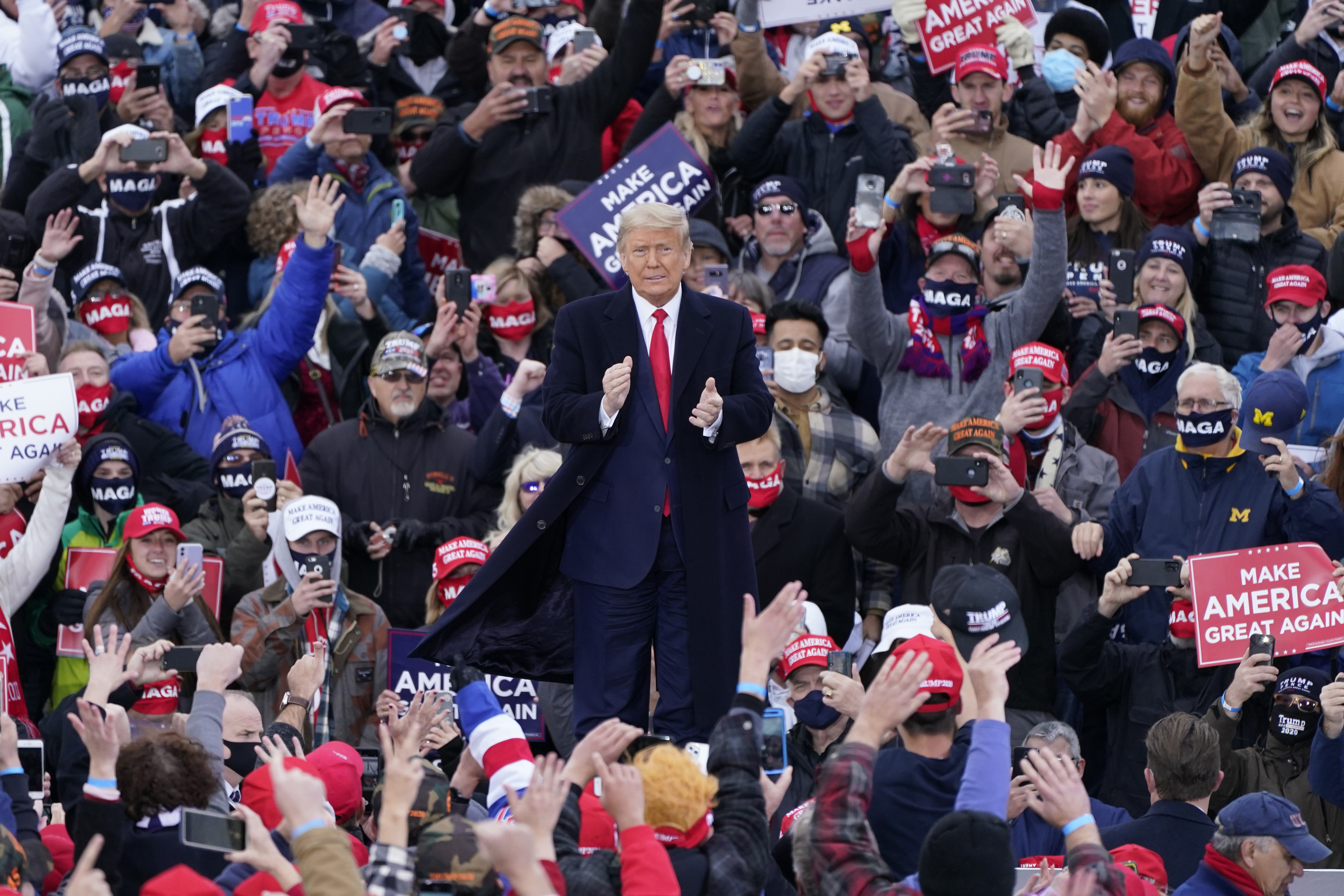 President Donald Trump arrives at a campaign rally in Norton Shores, Mich., on Oct. 17, 2020.