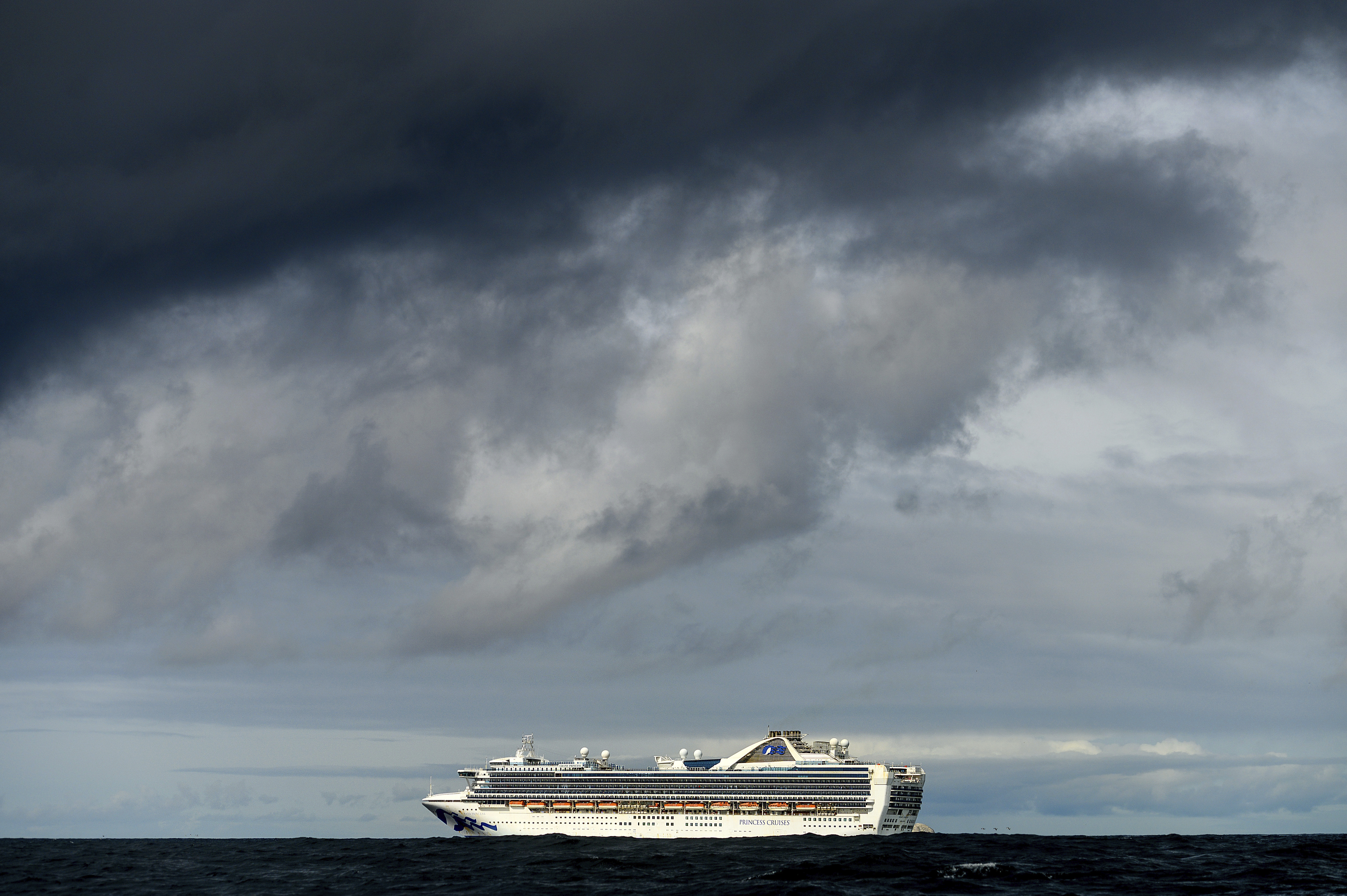 In this file photo, the Grand Princess maintains a holding pattern about 30 miles off the coast of San Francisco, carrying multiple people who have tested positive for the coronavirus on Oct. 30, 2020.