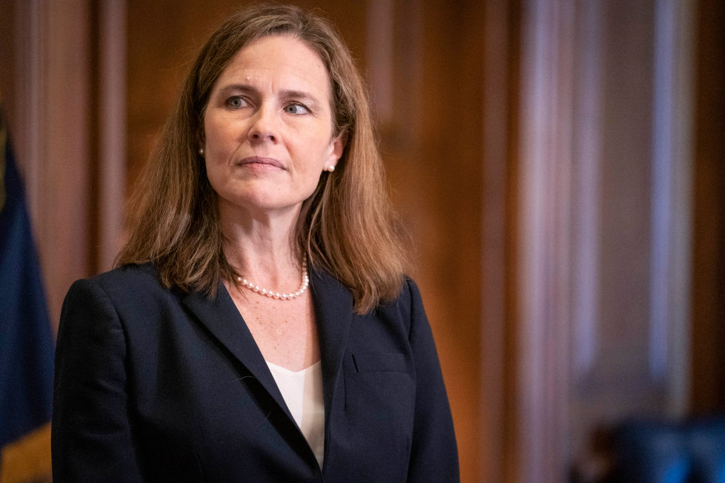 Supreme Court nominee Judge Amy Coney Barrett meets with U.S. Sen. James Lankford (R-OK)  in Washington, DC., on on Oct. 21, 2020.