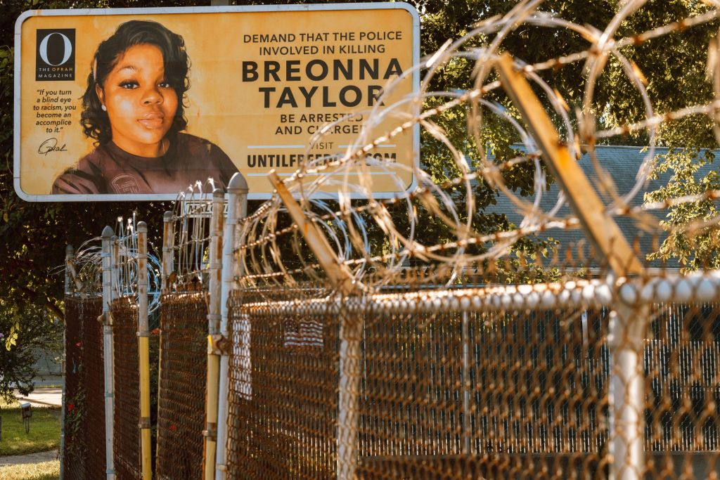 A billboard featuring a picture of Breonna Taylor and calling for the arrest of police officers involved in her death is seen on August 11, 2020 in Louisville, Kentucky.