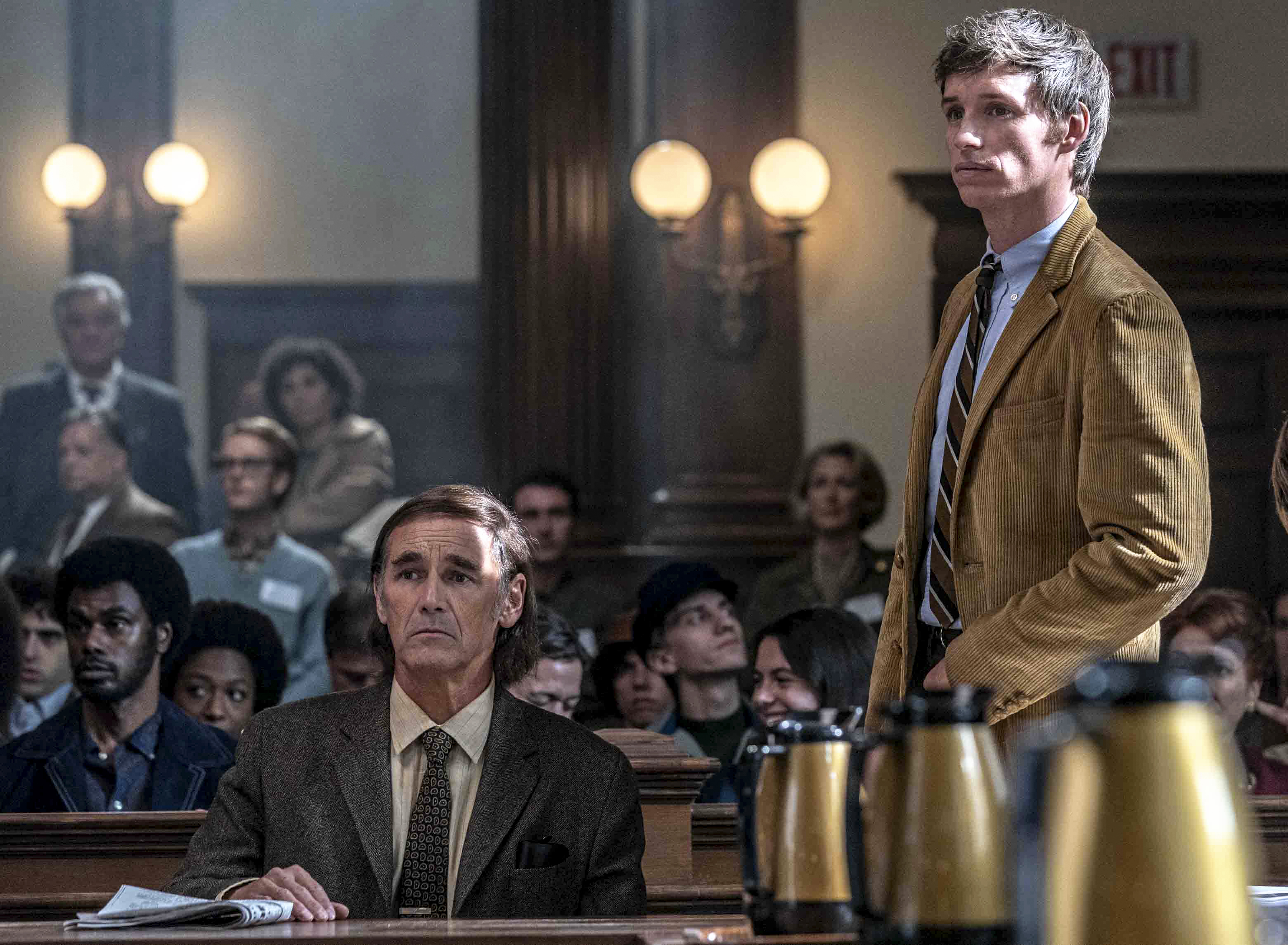 Mark Rylance as William Kunstler and Eddie Redmayne as Tom Hayden in The Trial of the Chicago 7