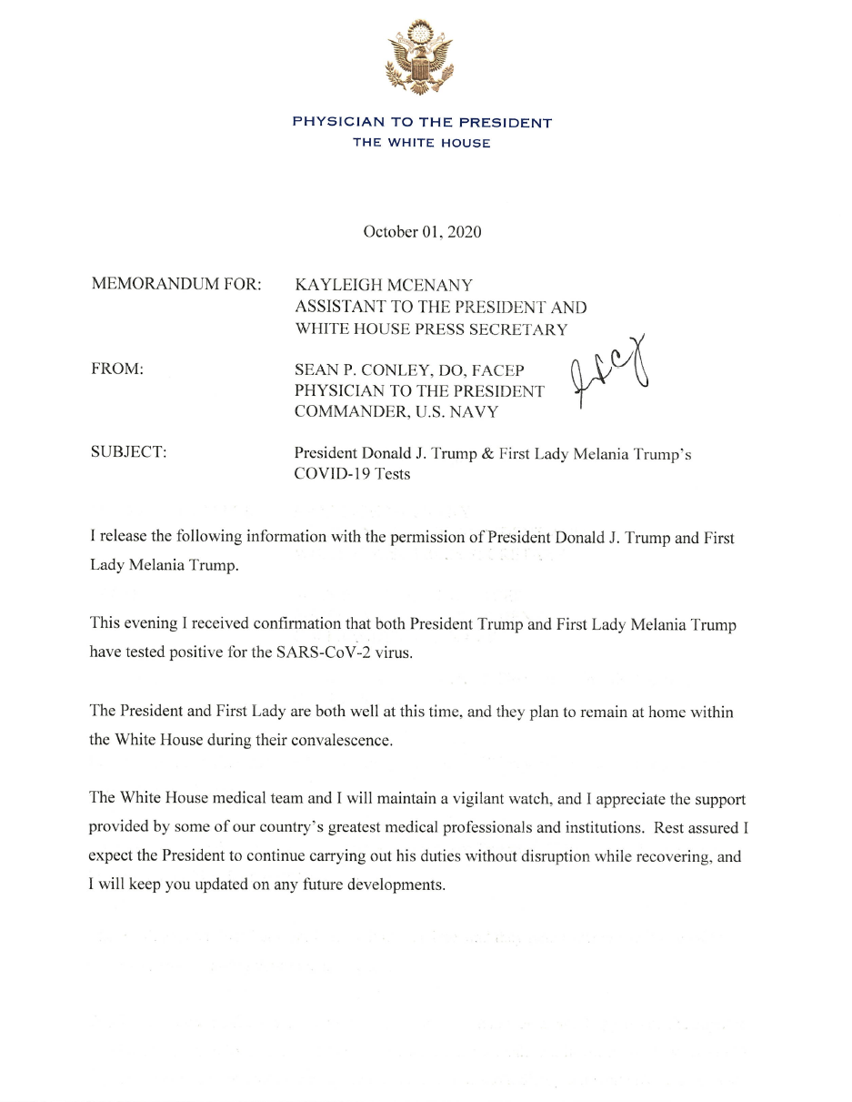 """A note from President Donald Trump's doctor, Sean Conley, said Trump and First Lady Melania """"are both well at this time  after they tested positive for COVID-19 on Friday Oct. 2, 2020."""