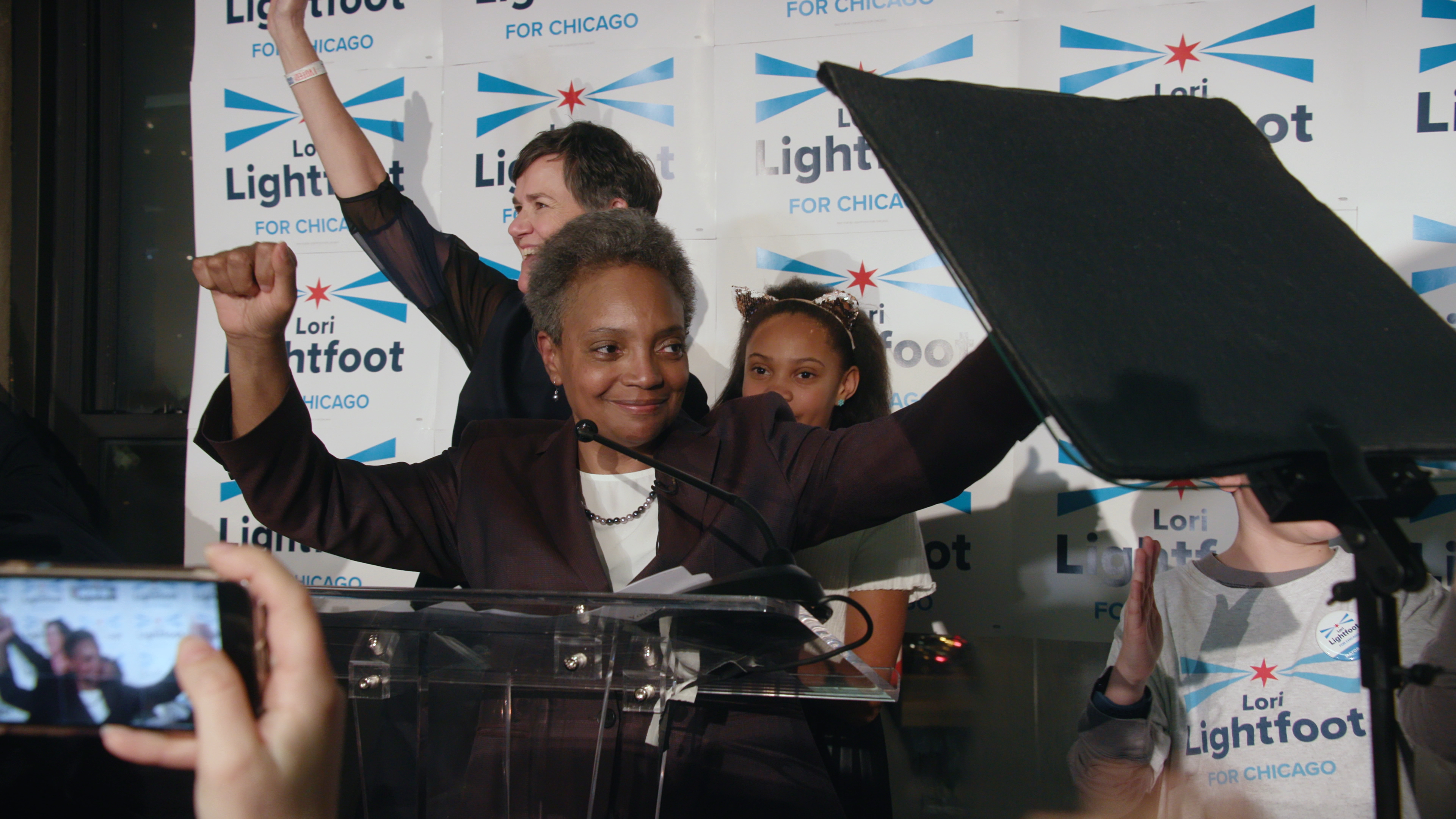 Lori Lightfoot celebrates a preliminary victory as the Chicago Mayoral race comes to a close.