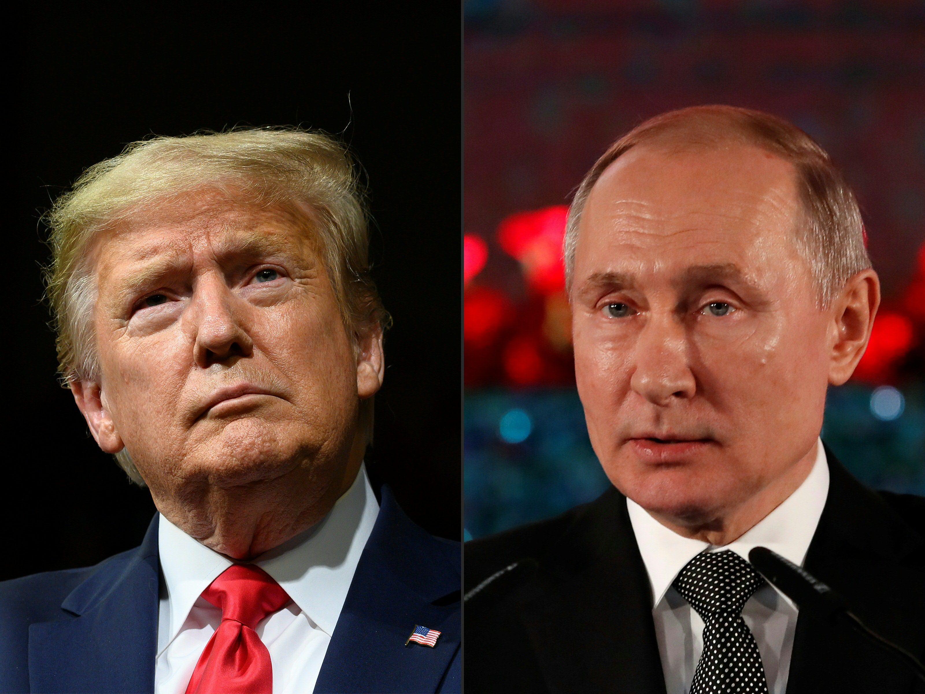 President Donald J. Trump, at a rally in Phoenix, Ariz., on Feb. 19, and Russian President Vladimir Putin, delivering a speech in Jerusalem on Jan. 23. Talks in Geneva on Oct. 2, 2020 involving U.S. and Russian security officials covered Kremlin election meddling, suggesting a shift in Russian tactics in the run-up to the U.S. vote.