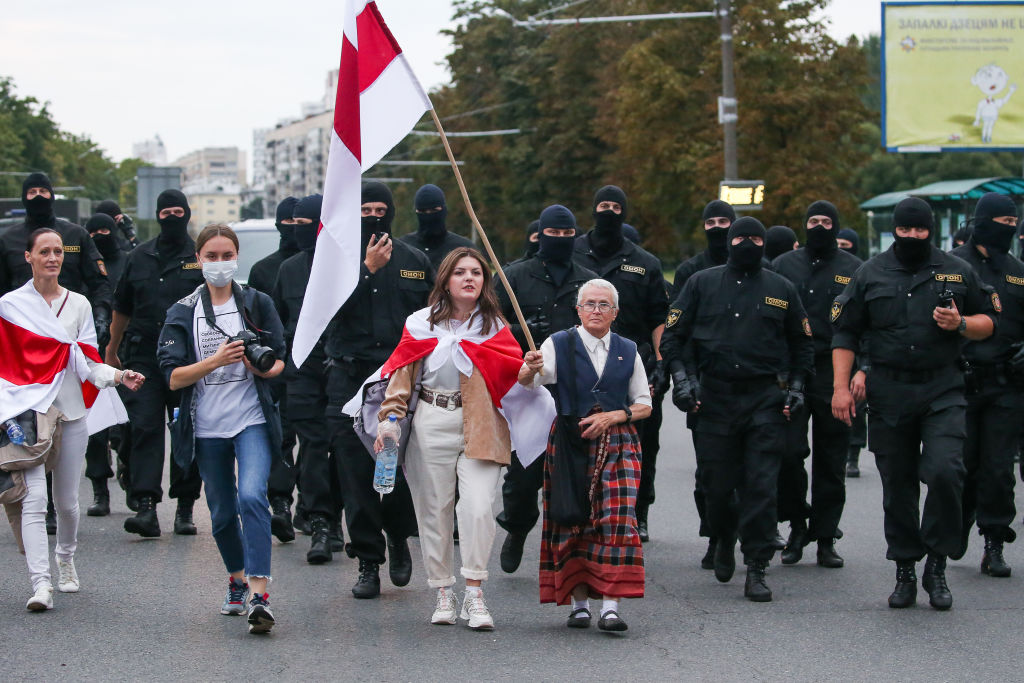 Opposition activist Nina Baginskaya takes part in a women's rally in Minsk, Belarus on Aug. 29, 2020.