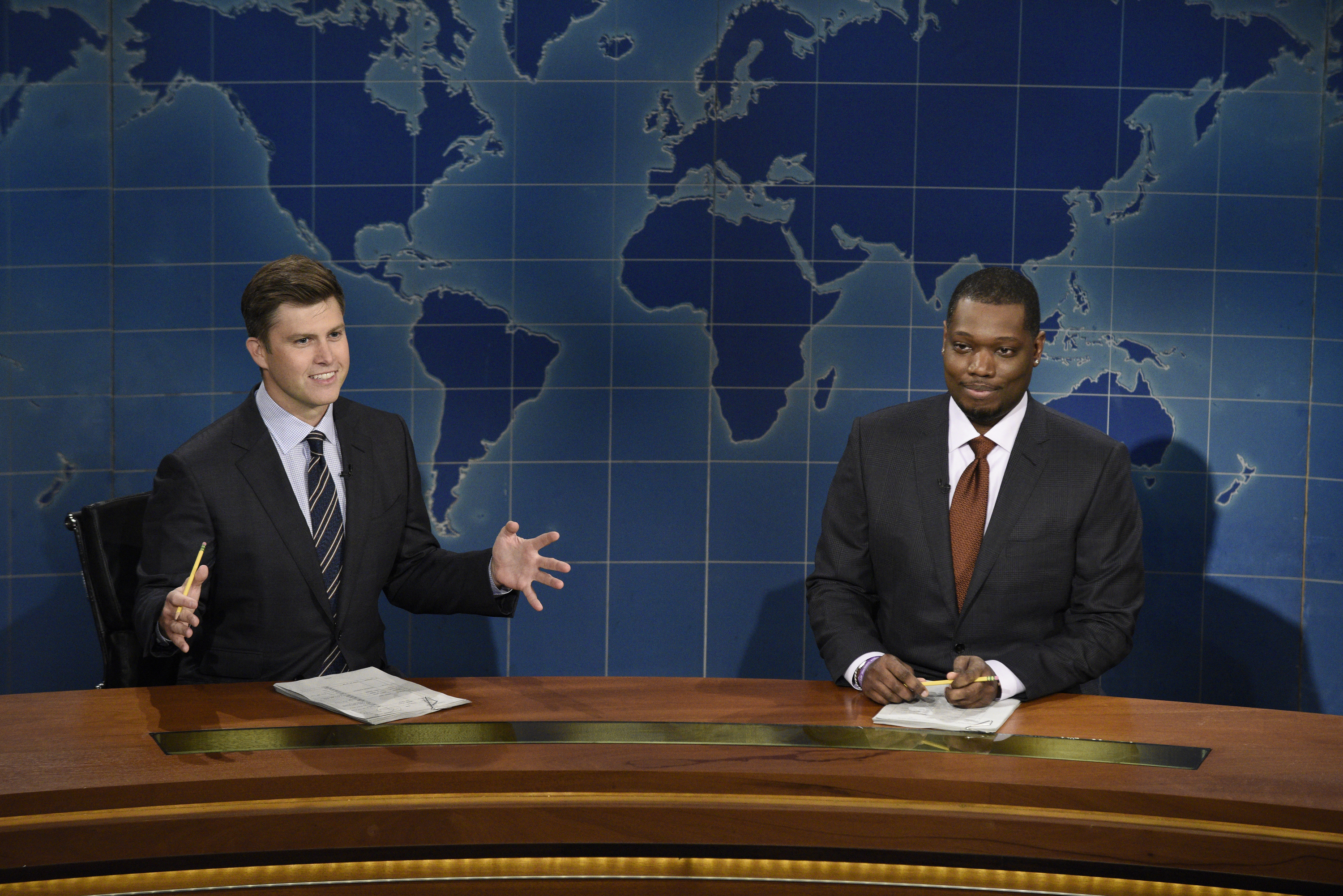 Colin Jost and Michael Che during Saturday Night Live's Weekend Update on October 3, 2020