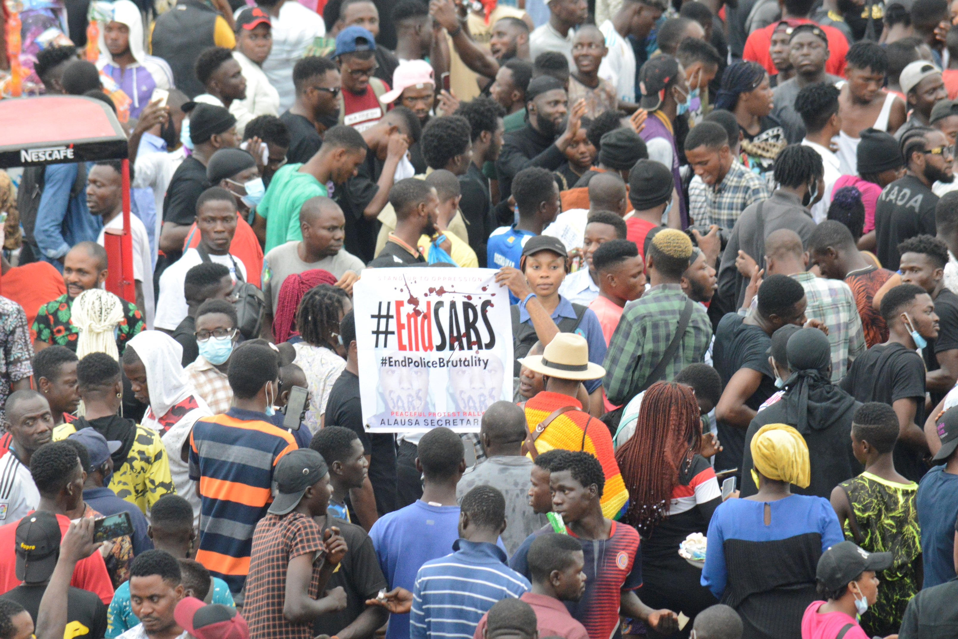 An #EndSARS protest at Alausa, Ikeja, Lagos, Nigeria in October 2020.