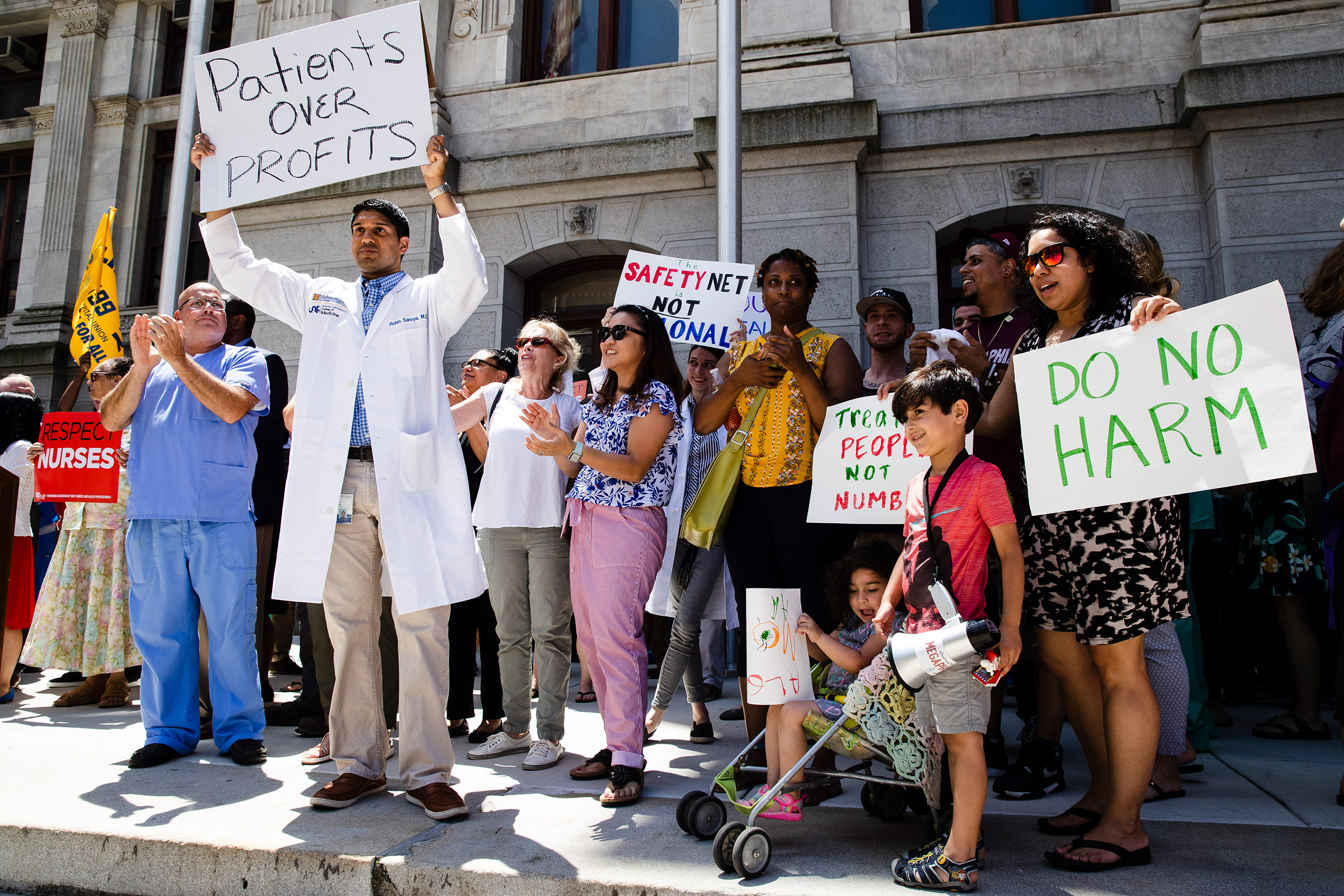 Protesters demonstrate against the planned closure of Hahnemann University Hospital, at City Hall in Philadelphia, June 27, 2019