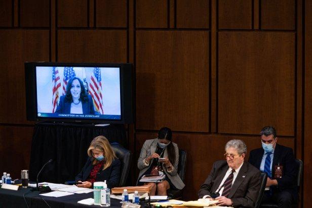 Senator Kamala Harris on screen during the Senate Judiciary Committee hearing of Supreme Court nominee Amy Coney Barrett on Oct. 14, 2020 in Washington, DC.