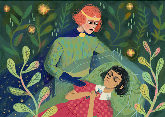 Illustration for Eszter Gangl's tale about a brown skinned Snow White, named Leaf Brown