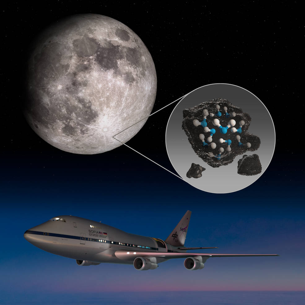 This image highlights the Moon's Clavius Crater with an illustration depicting water trapped in the lunar soil there, along with an image of NASA's Stratospheric Observatory for Infrared Astronomy (SOFIA) that found sunlit lunar water.