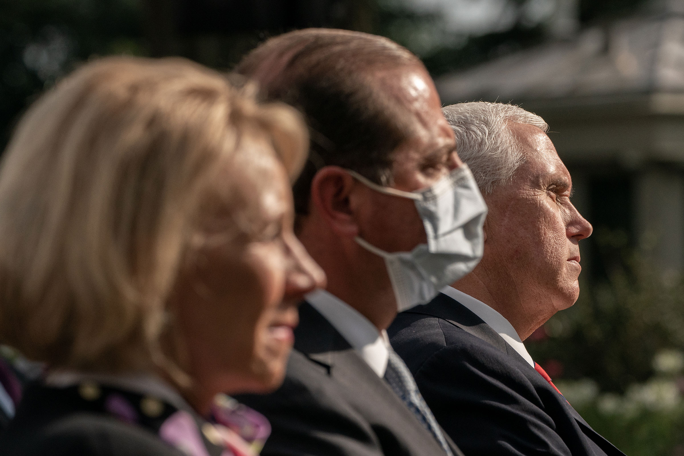 United States Vice President Mike Pence listens during an update by United States President Donald Trump on the nation's Coronavirus testing strategy in the Rose Garden of the White House, in Washington, Sept. 28, 2020.