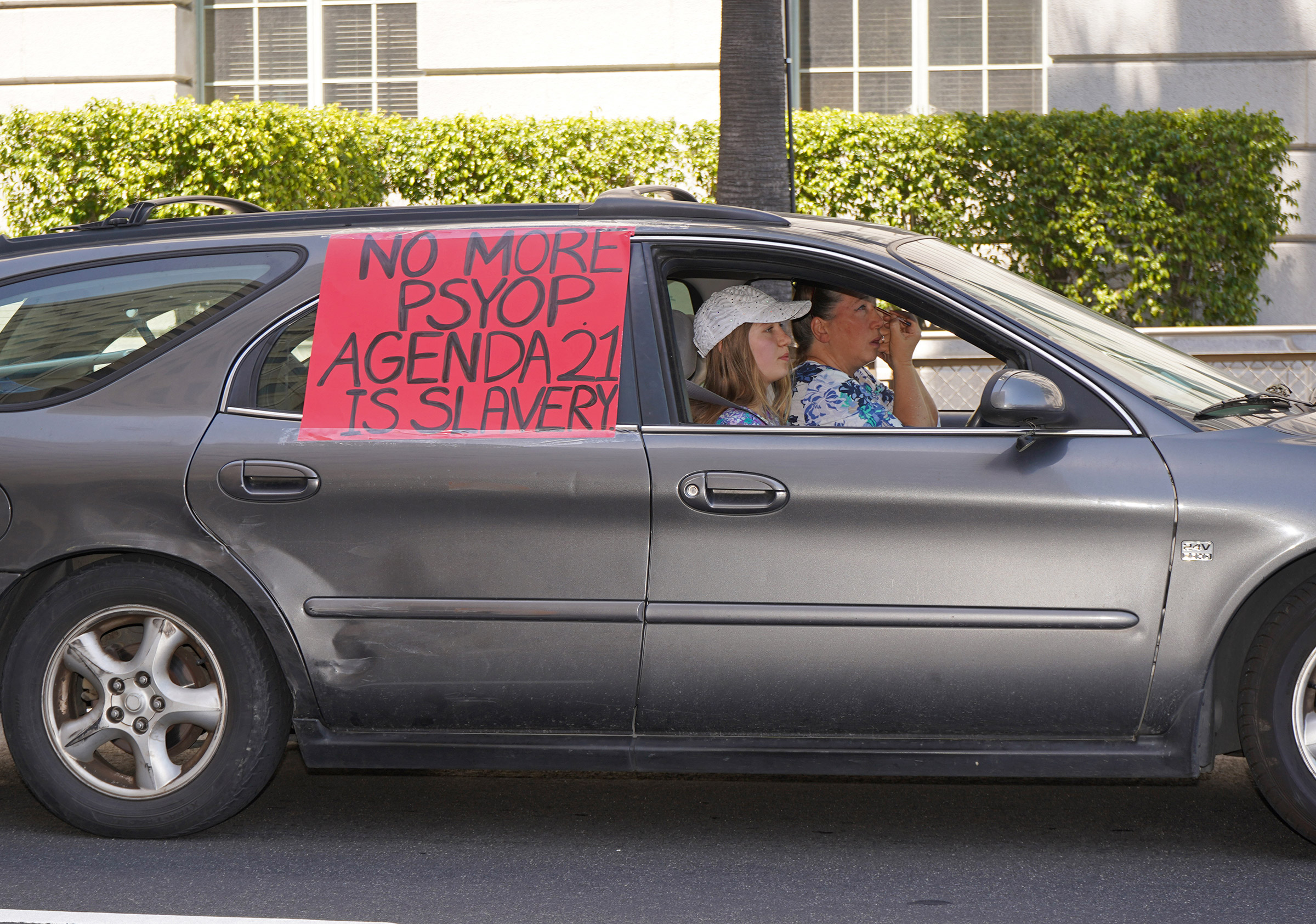 Protesters at an anti-lockdown protest in Downtown Los Angeles, July 13, 2020.