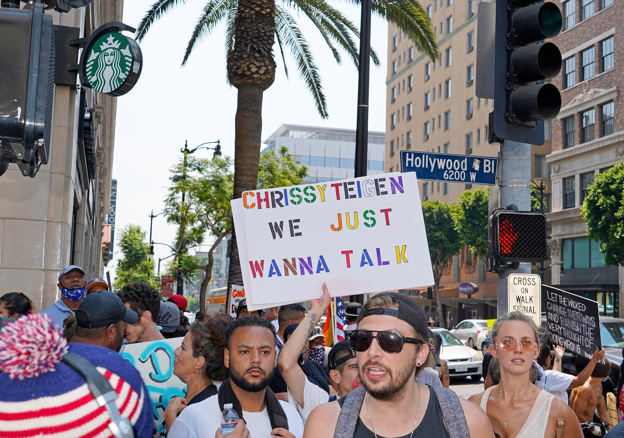 Protesters at a Save Our Children rally in Los Angeles, Aug. 22, 2020.
