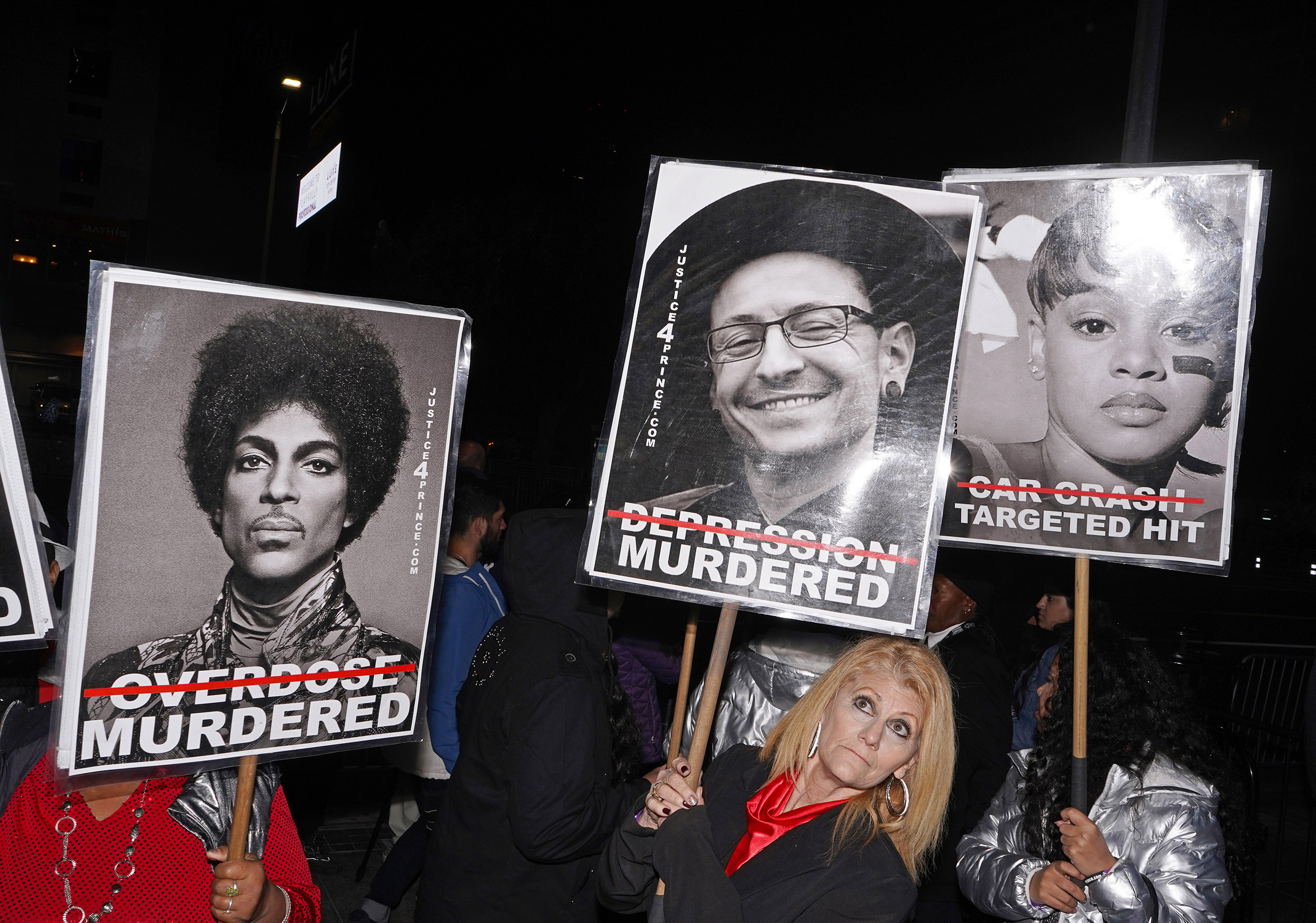 The group Justice 4 Prince protesting outside the Grammy's in Downtown Los Angeles, Jan. 26, 2020.