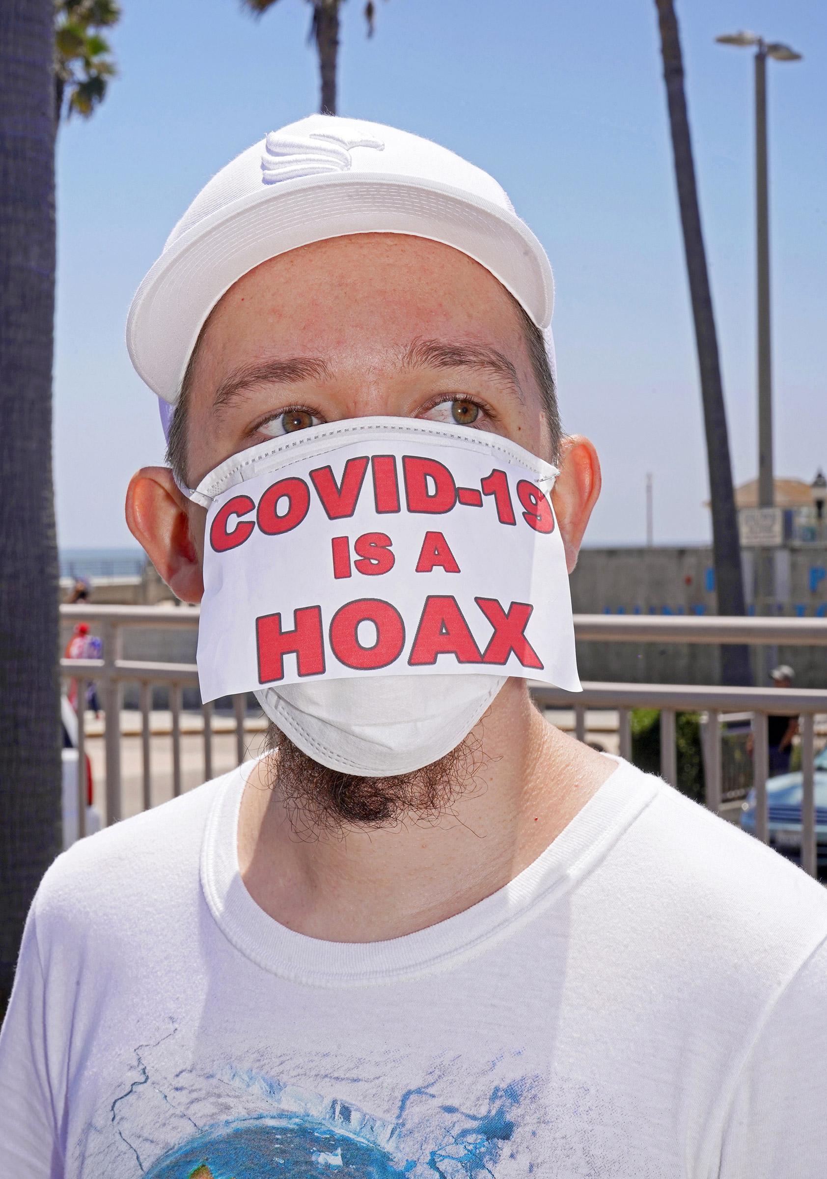 Anti-lockdown rally in Huntington Beach, Calif., May 1, 2020.