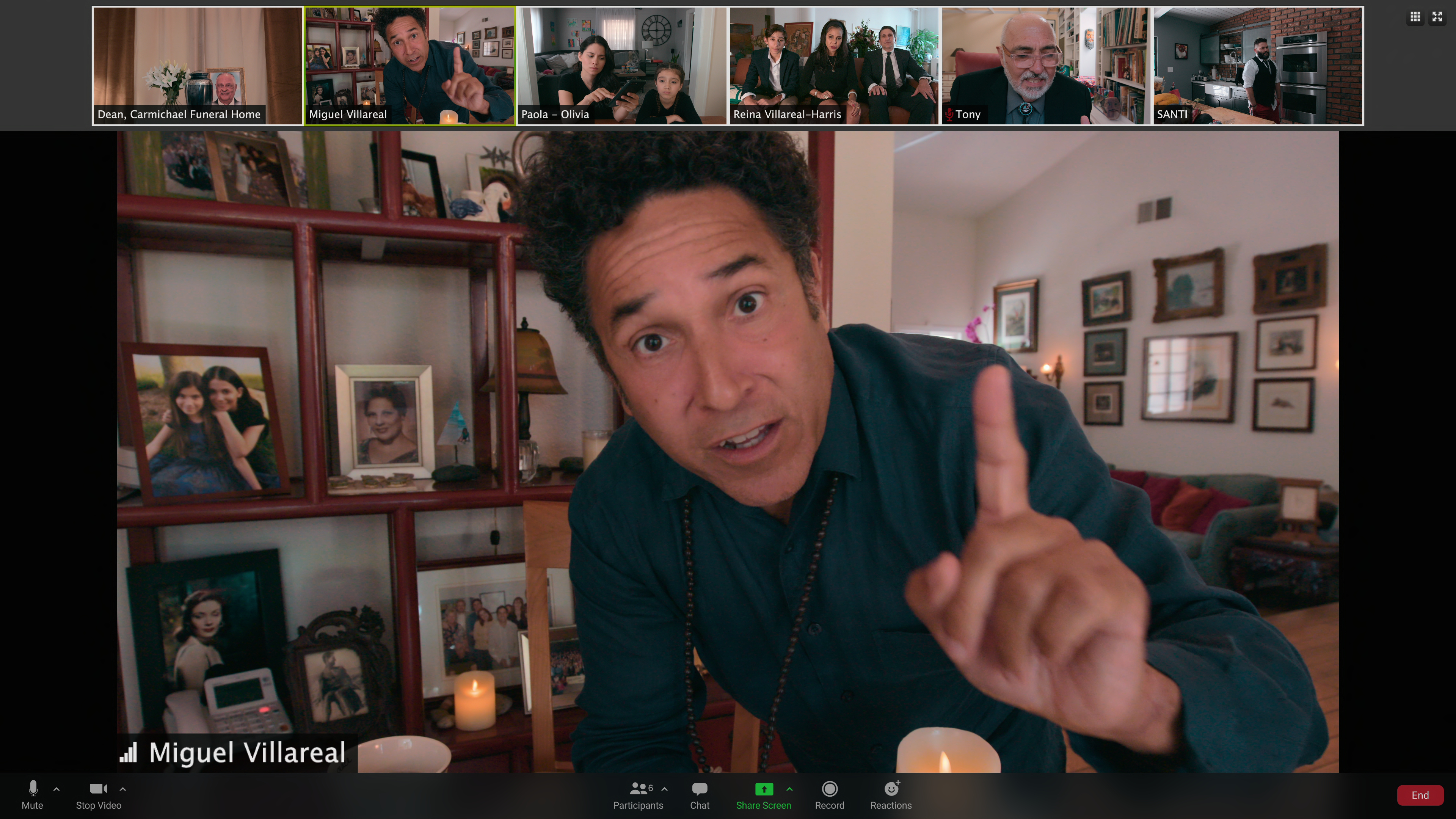 Oscar Nunez leads a Zoom funeral in 'Social Distance'