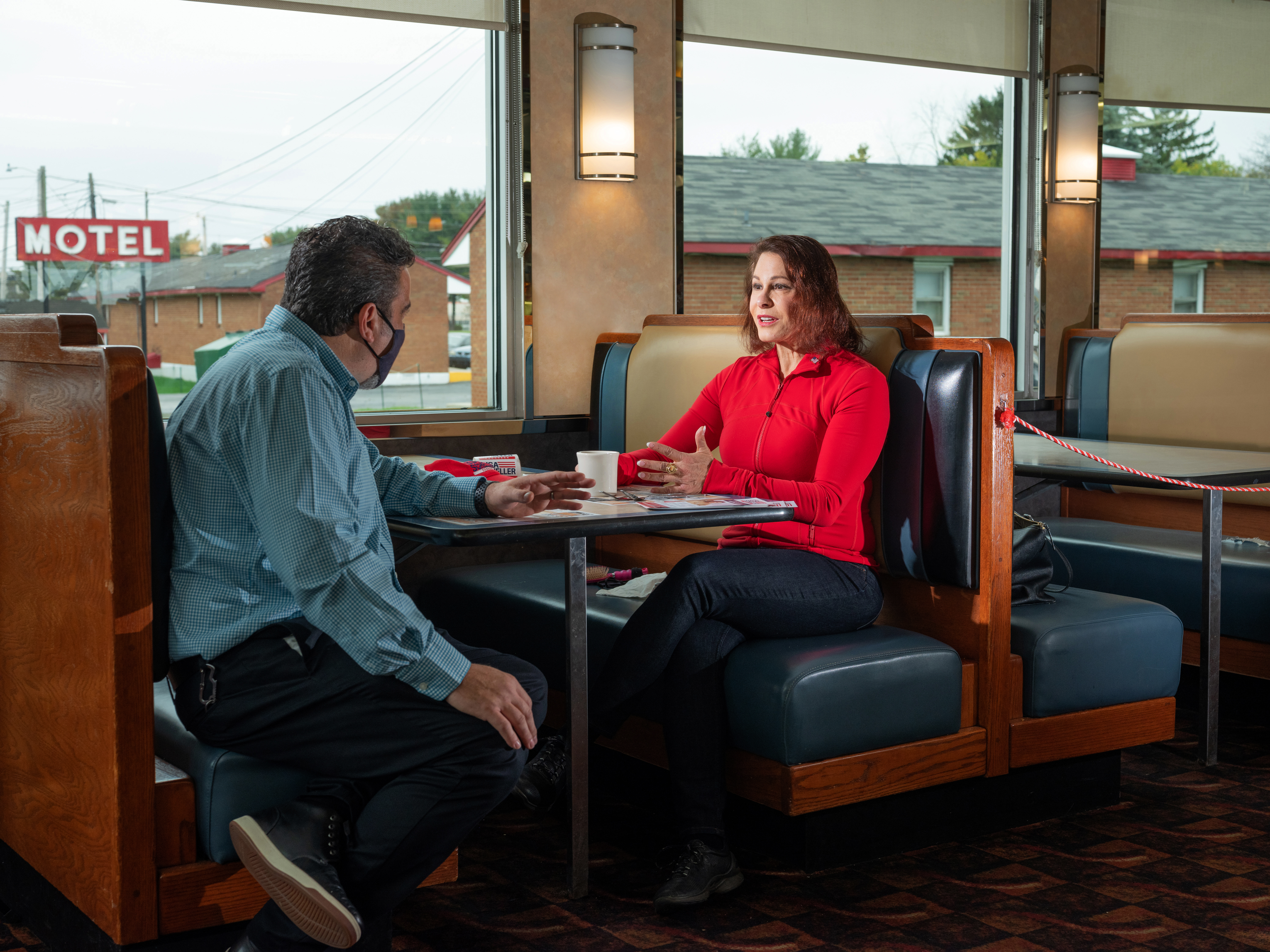 2020 Republican candidate for Pennsylvania's 7th District House race, Lisa Scheller, starts a long day of campaigning at a diner in Allentown, Pa., on Oct. 24, 2020.