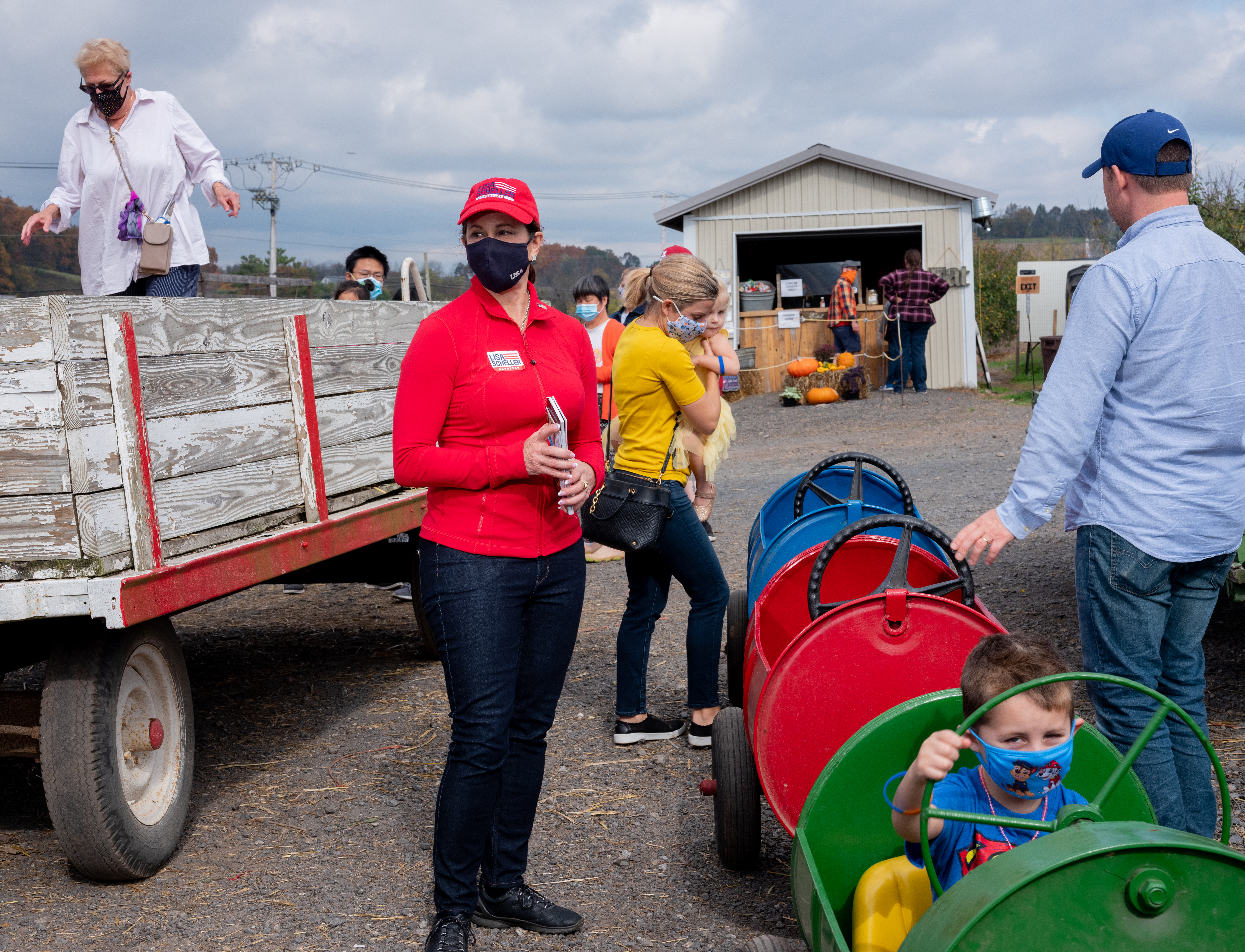 Republican nominee, Lisa Scheller, campaigning at Hausman's Fruit Farm in Allentown, Pa., on Oct. 24, 2020.