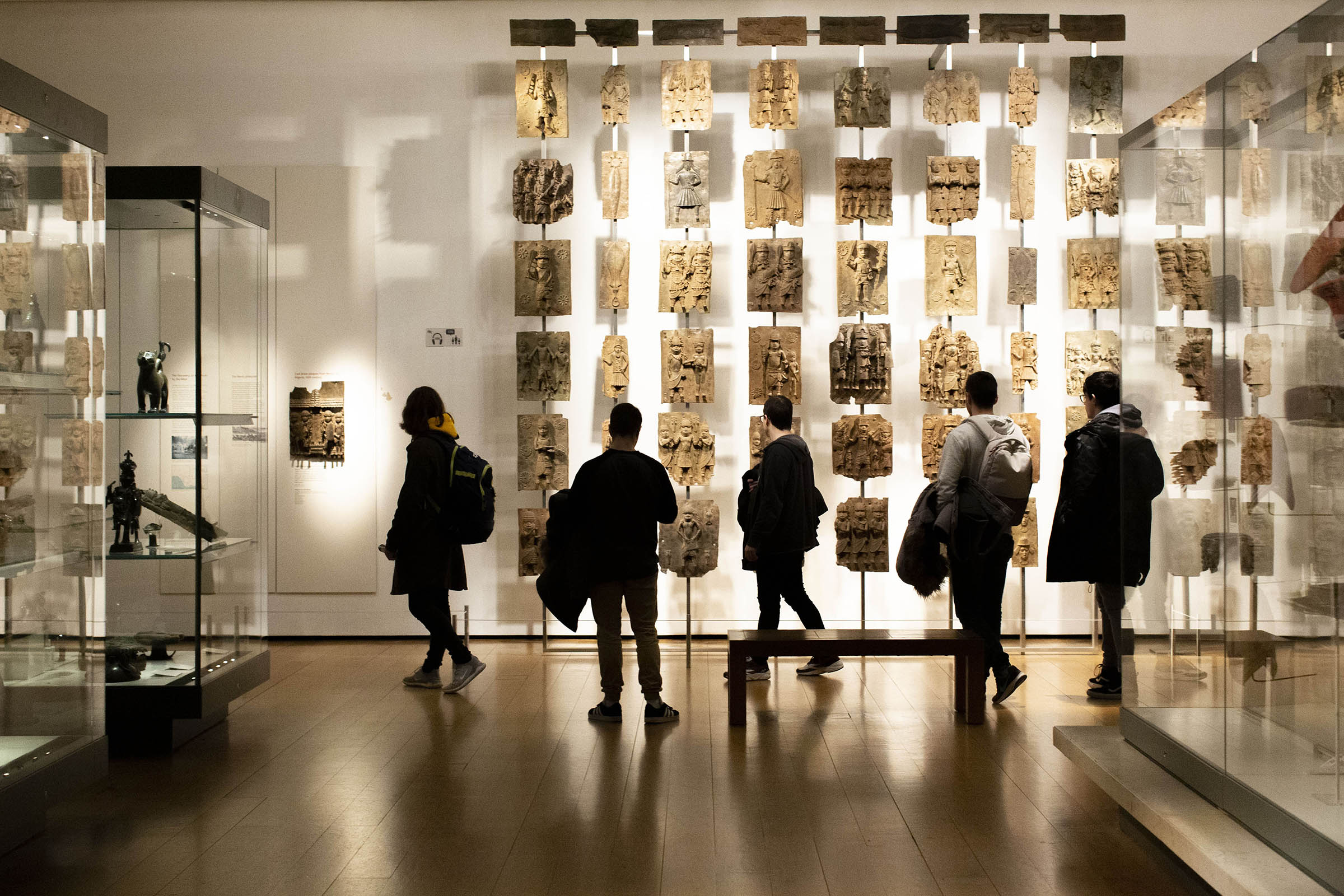 A display of Benin Bronzes at the British Museum in London, Dec. 10, 2019.