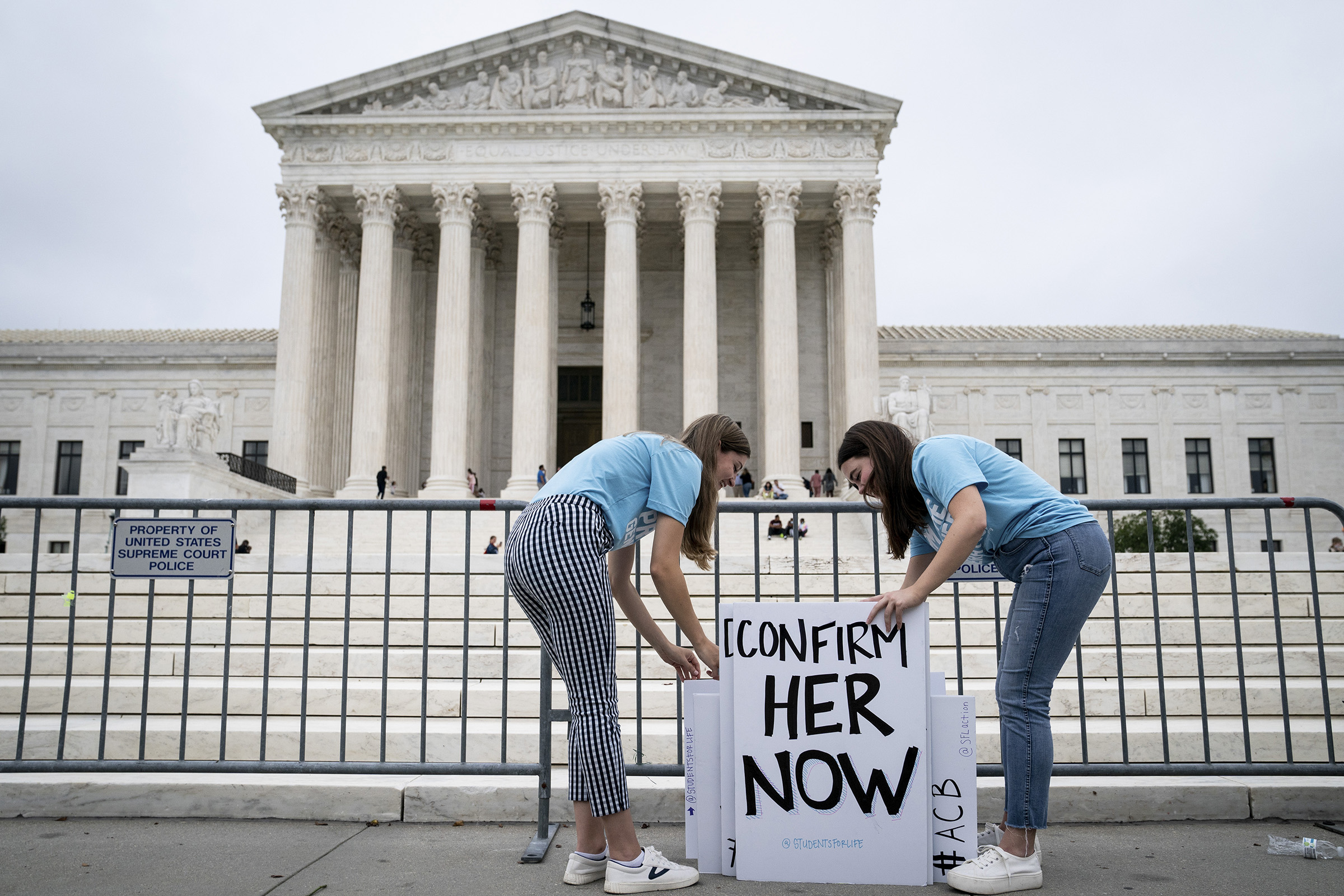 Liberty University students with signs in support of the nomination of Judge Amy Coney Barrett outside the Supreme Court in Washington, on Sept. 26, 2020.