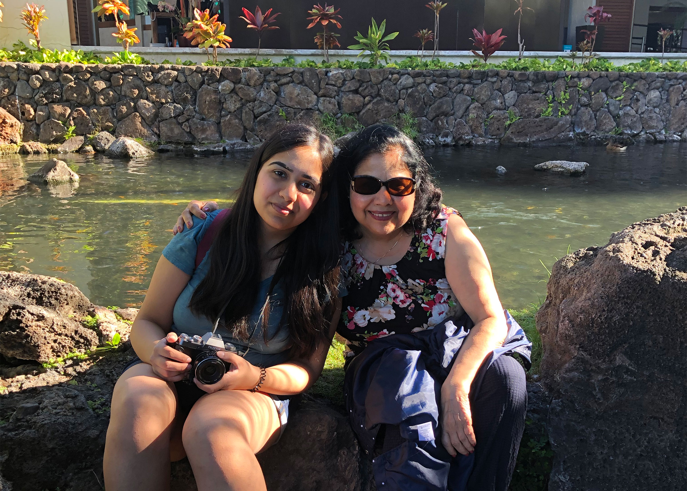 Arpita Aneja and her mother Romi in Hawaii, March 2019.