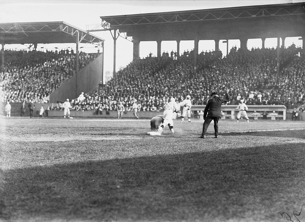Fred Merkle of the Chicago Cubs is called out at third base during the 4th game of the 1918 World Series between the Chicago Cubs and the Boston Red Sox.