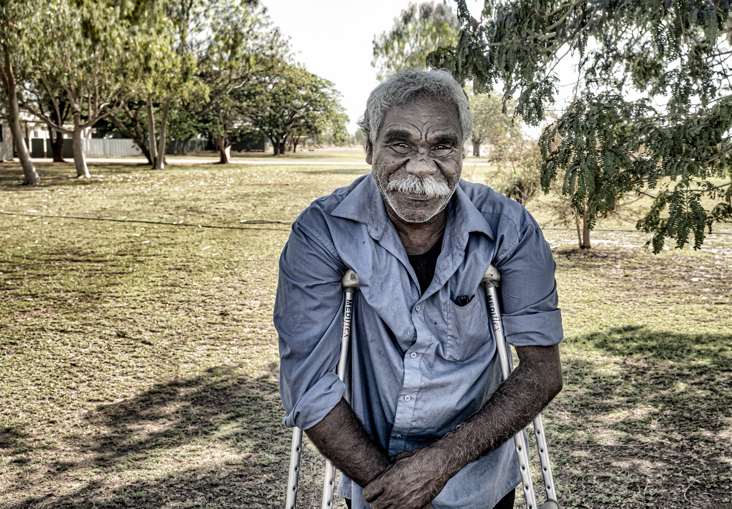 Ned Jampijinpa Hargraves, a Warlpiri elder and lawman, in the Tanami Desert in Oct. 2019.