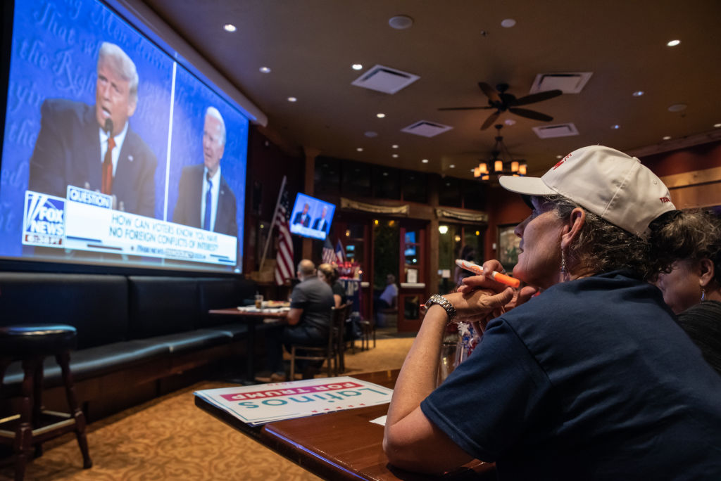 Rhonda Marquardt watches the final presidential debate between President Donald Trump and former Vice President Joe Biden on October 22, 2020 in San Antonio, Texas.