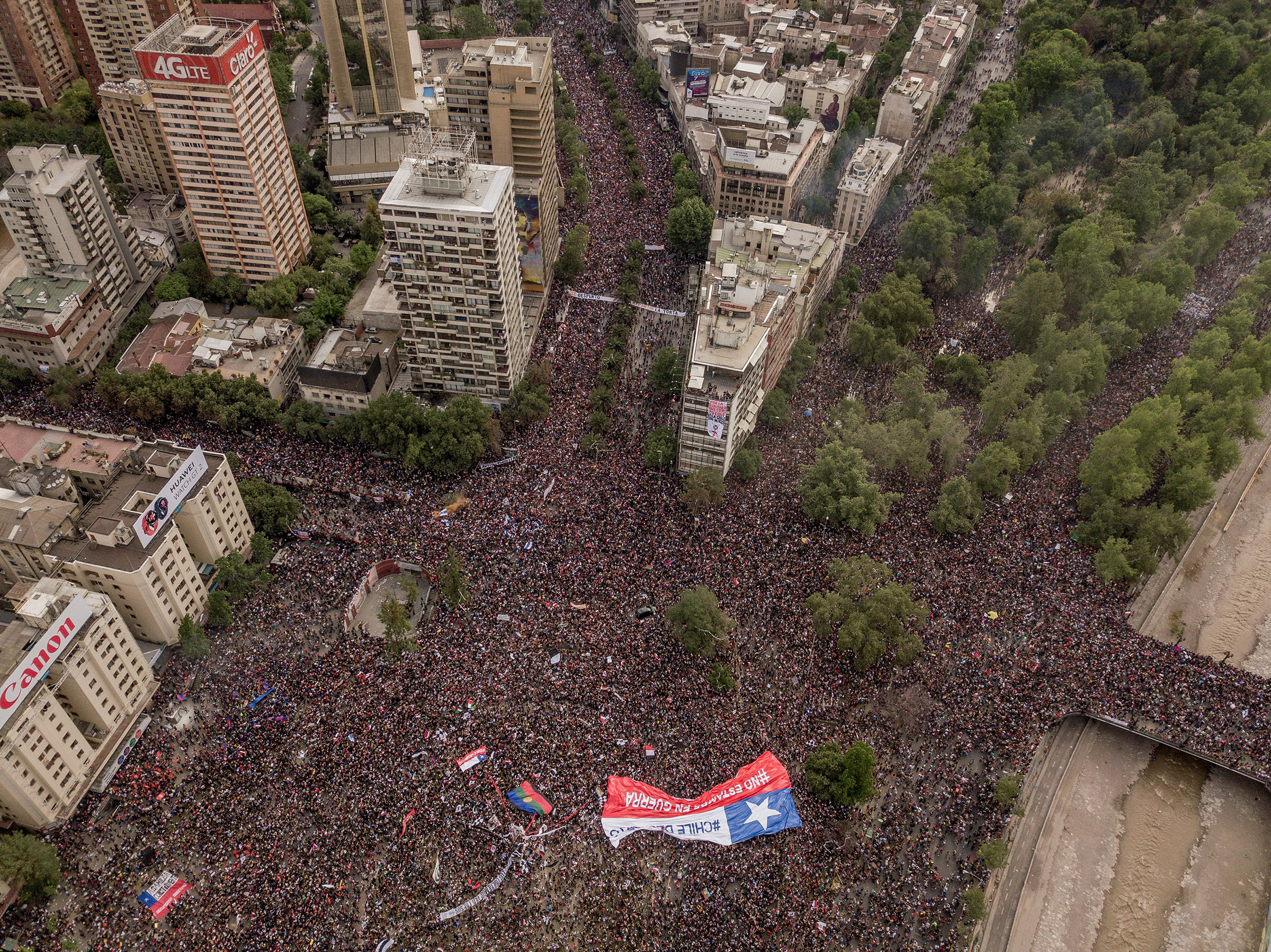 Protesters take to the streets in Santiago, Chile, on Oct. 25, 2019.