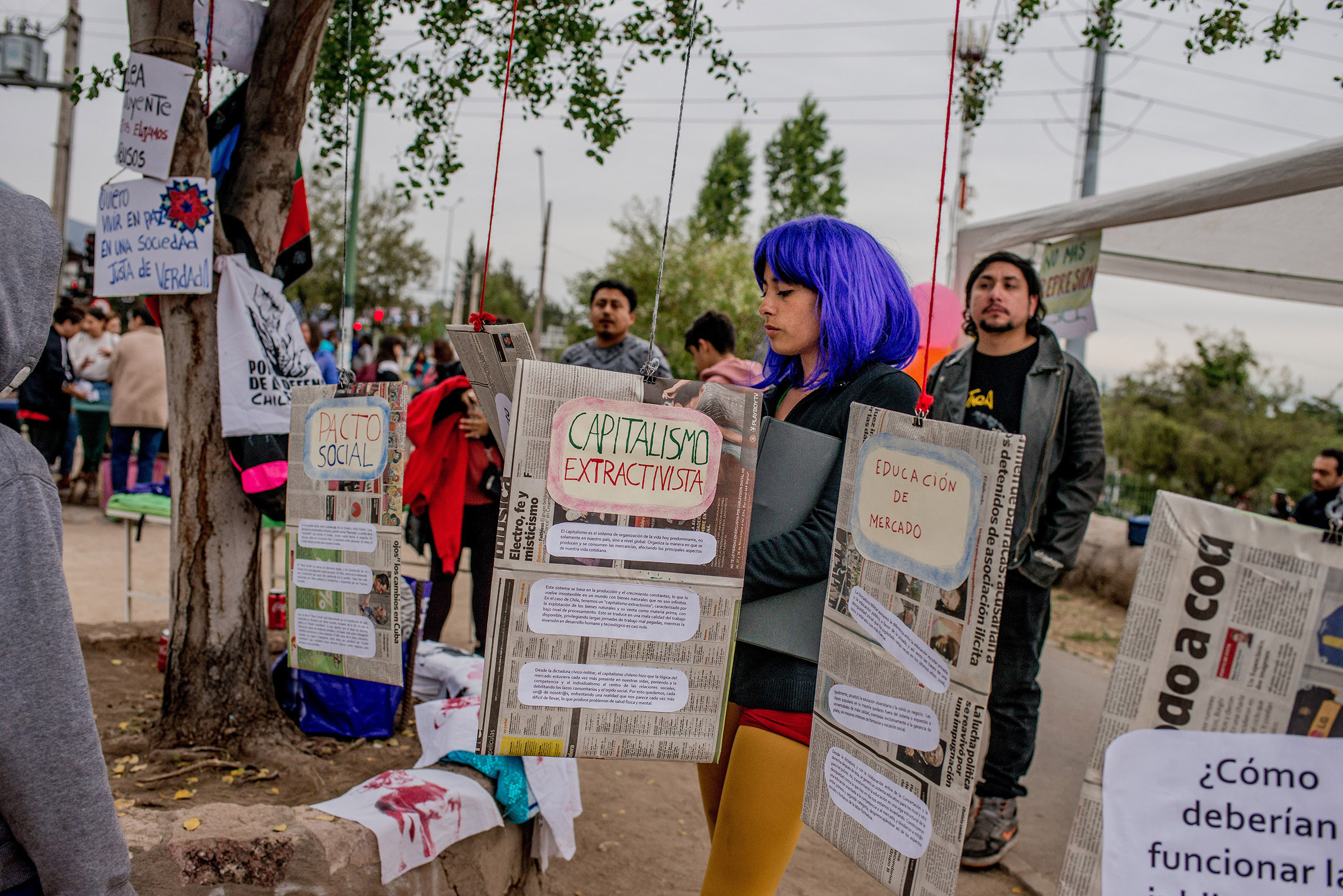 A gathering in Peñalolén, a neighborhood of Santiago, focuses on issues like education, economy and the Constitution, in Chile, on Oct. 27, 2019.